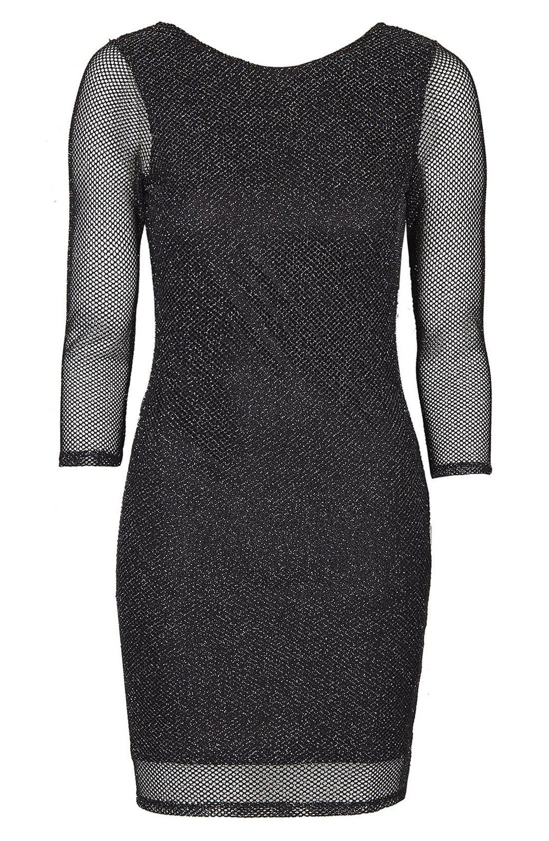 Alternate Image 3  - Topshop Glitter Mesh Body-Con Dress