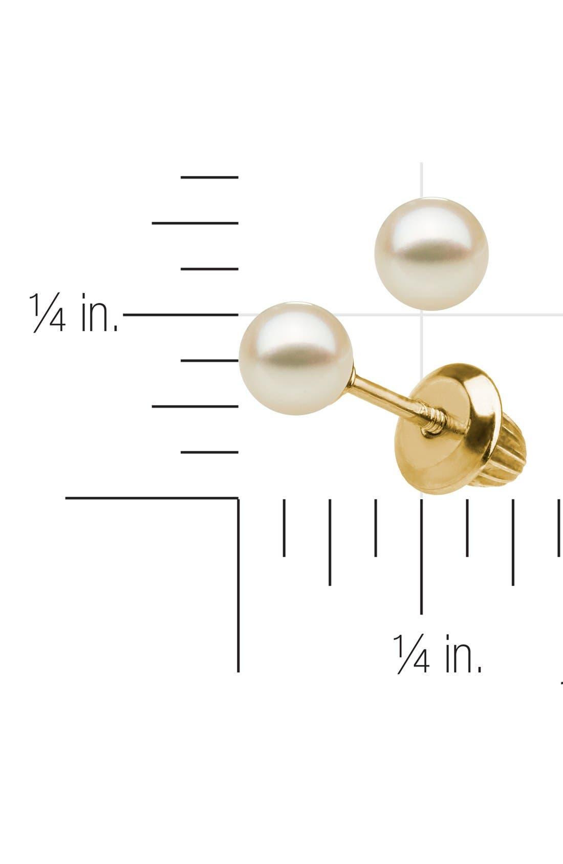 Alternate Image 2  - Mignonette 14k Gold & Pearl Earrings (Girls)