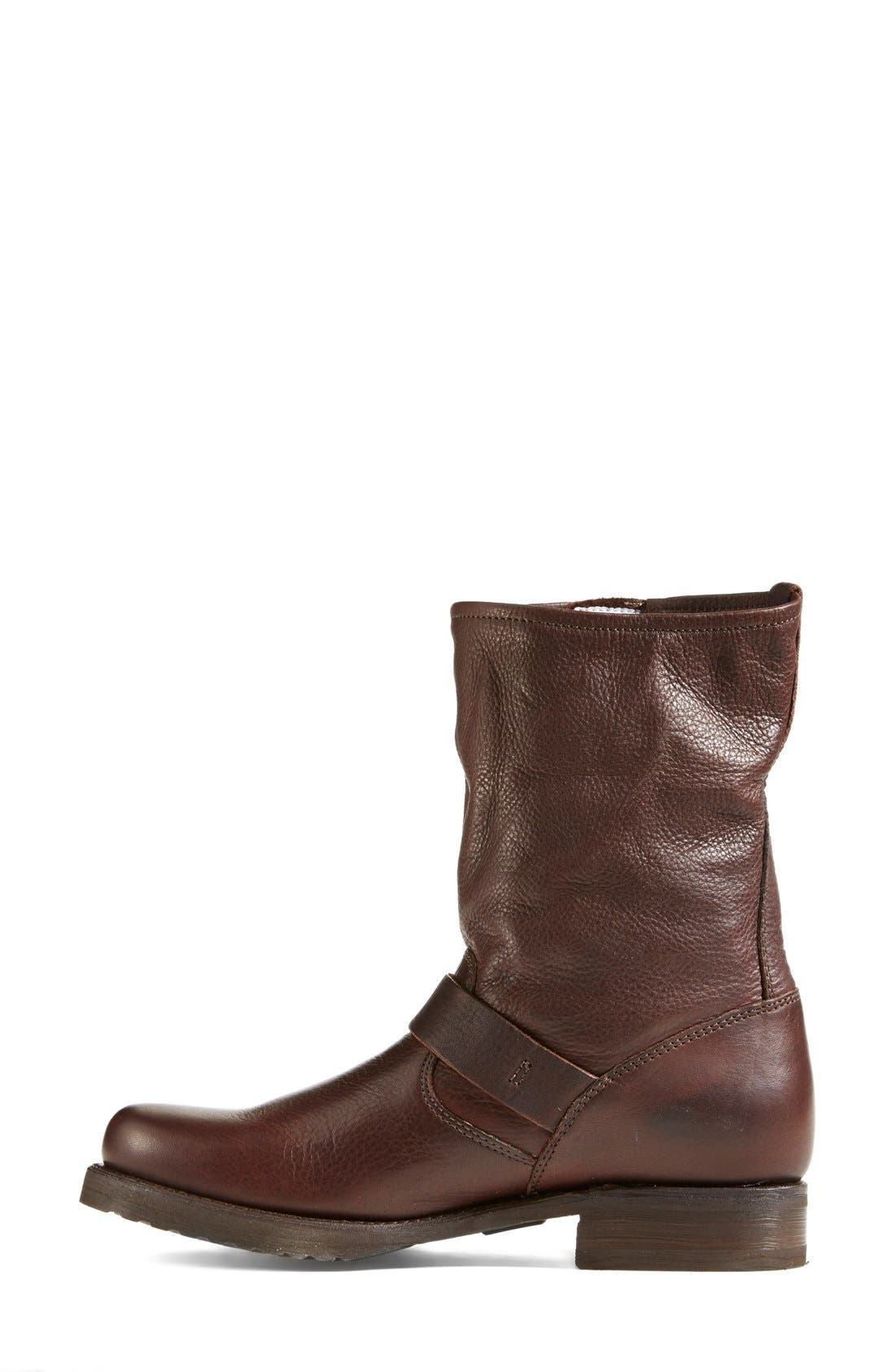 'Veronica Short' Slouchy Boot,                             Alternate thumbnail 4, color,                             Dark Brown Leather