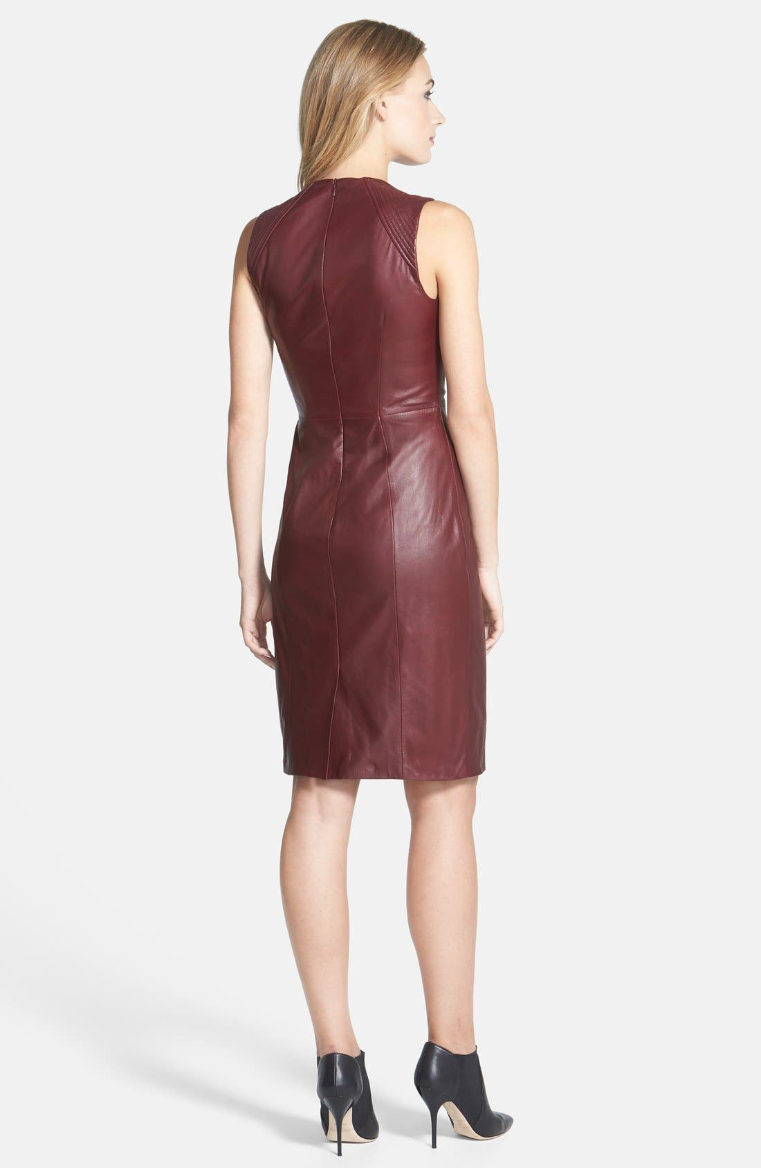 Lambskin Leather Sheath Dress,                             Alternate thumbnail 2, color,