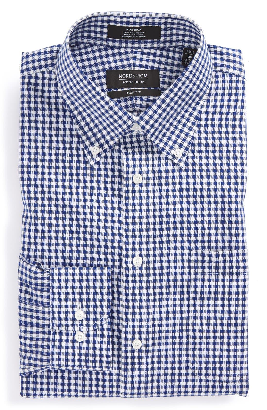 NORDSTROM MENS SHOP Trim Fit Non-Iron Gingham Dress Shirt