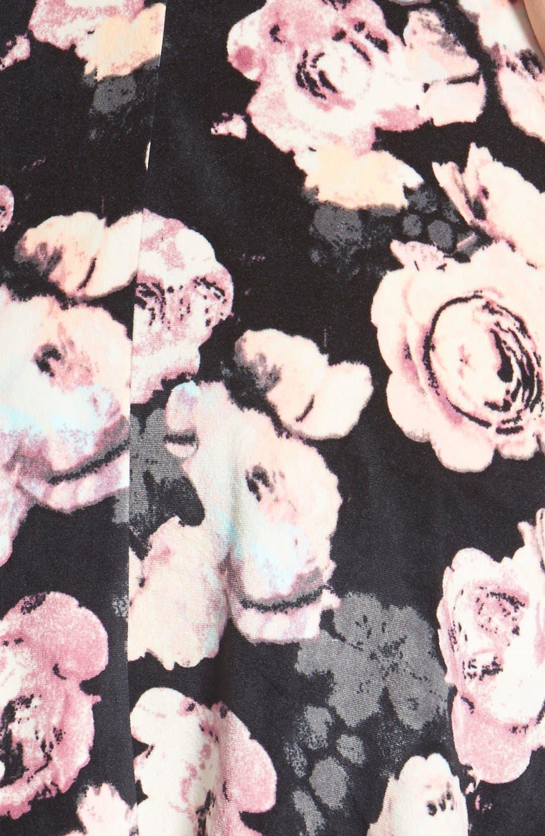 Alternate Image 3  - Fire Floral Print Bow Back Velvet Skater Dress (Juniors)