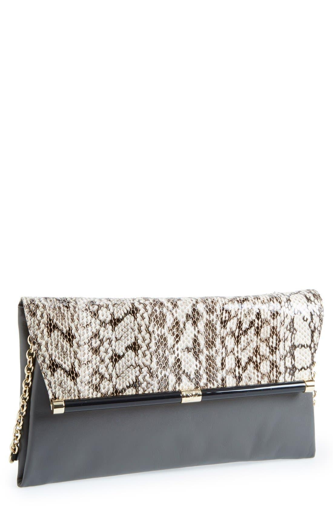 Main Image - Diane von Furstenberg 'Large 440' Snakeskin Envelope Clutch