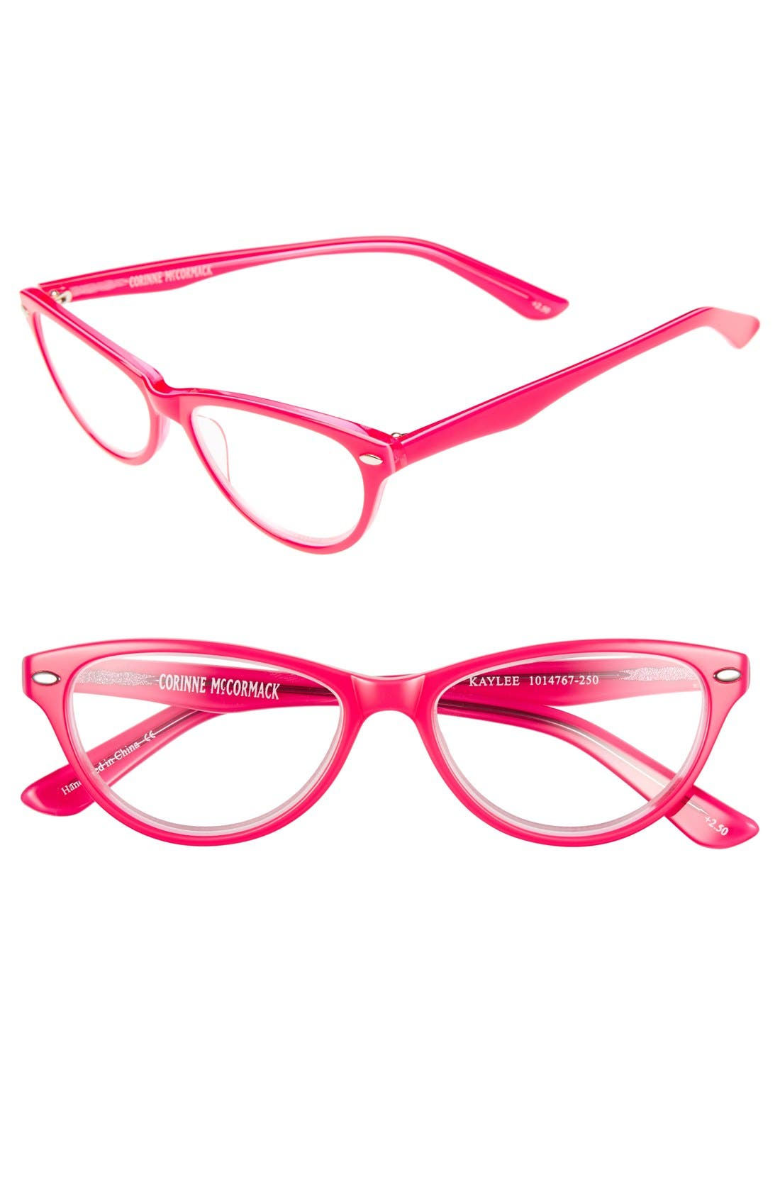 'Kaylee' Reading Glasses,                             Main thumbnail 1, color,                             Hot Pink