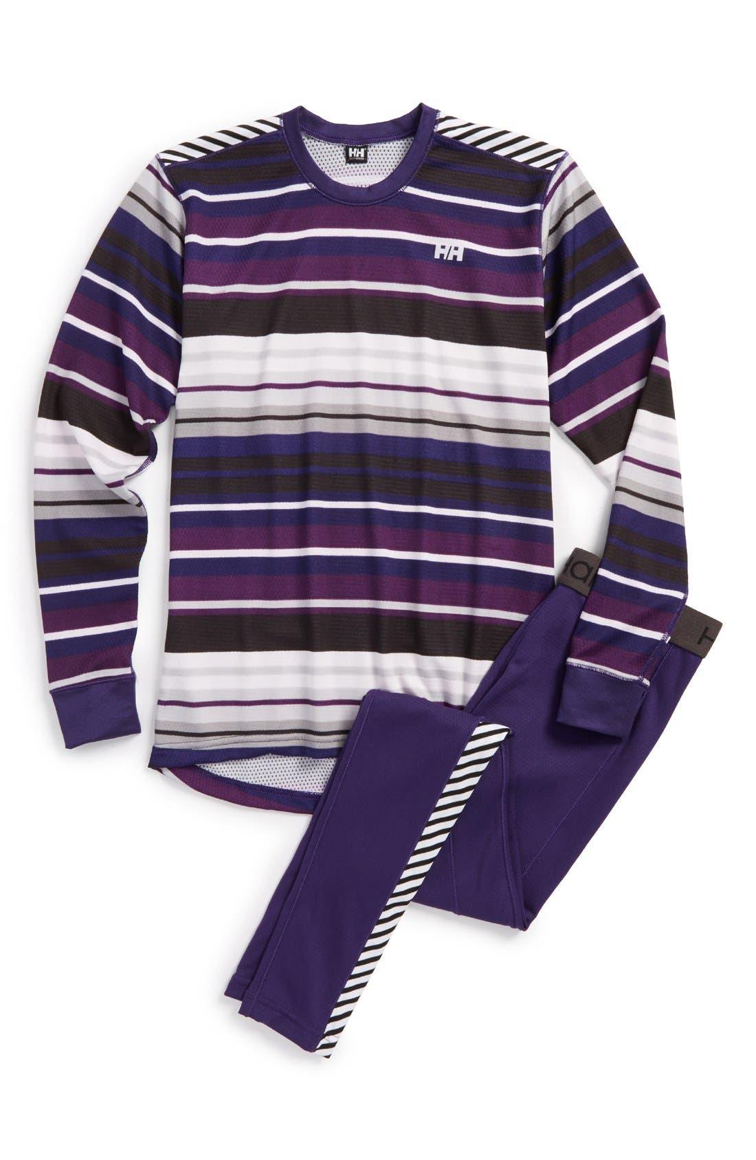 'HH<sup>®</sup> Active' Base Layer Top & Pants,                             Main thumbnail 1, color,                             Nordic Purple/ Multistripe