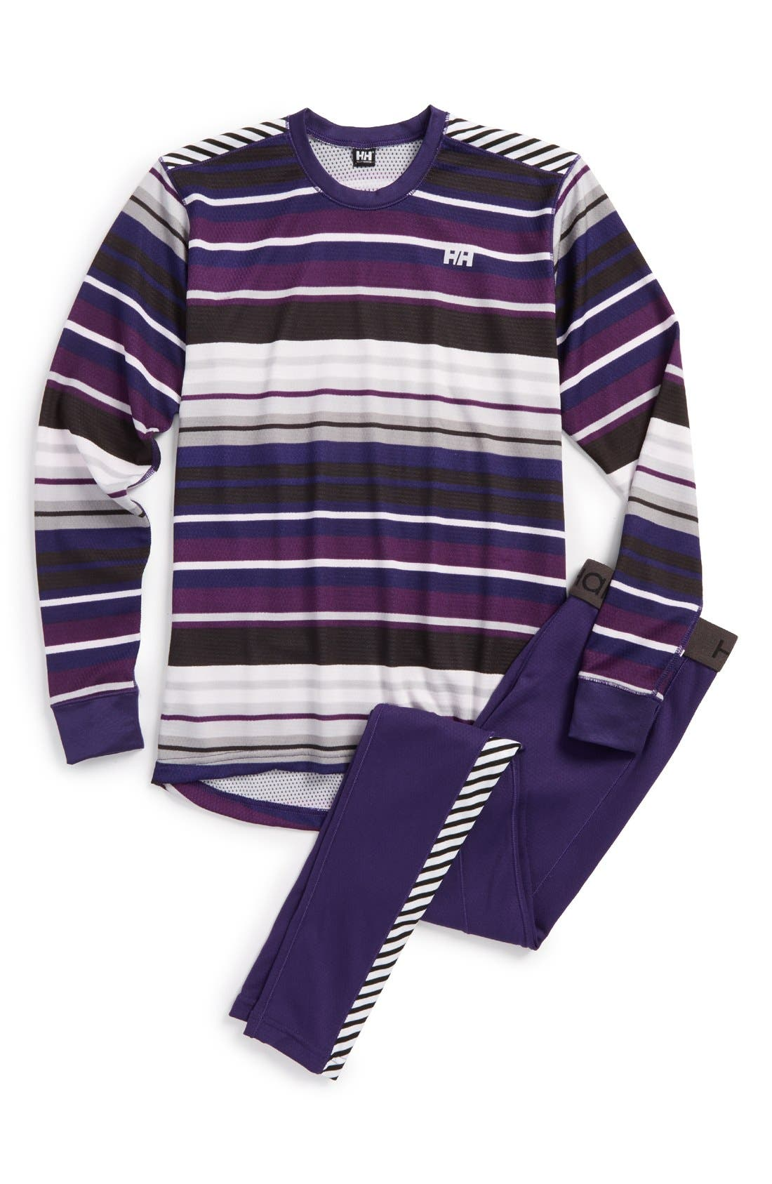 'HH<sup>®</sup> Active' Base Layer Top & Pants,                         Main,                         color, Nordic Purple/ Multistripe
