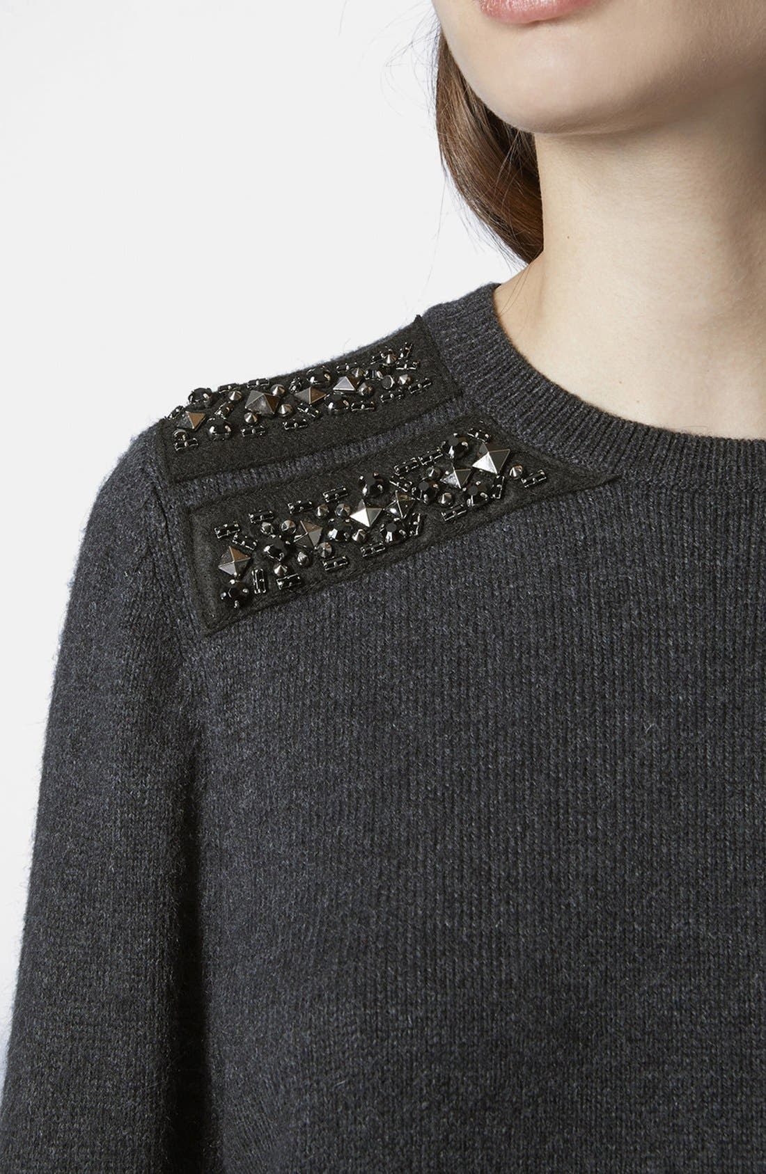 Alternate Image 3  - Topshop Embellished Shoulder Sweater