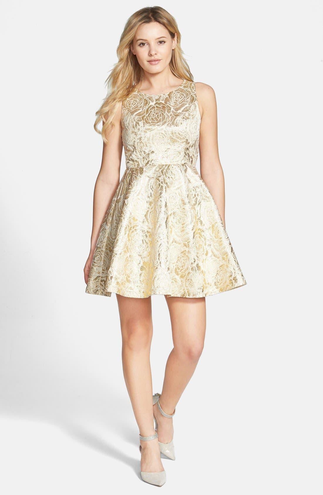 Main Image - a. drea Rose Foil Skater Dress (Juniors)
