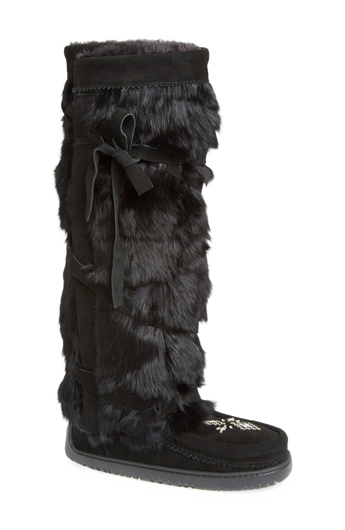MANITOBAH MUKLUKS Genuine Rabbit Fur Tall Wrap Boot in Black