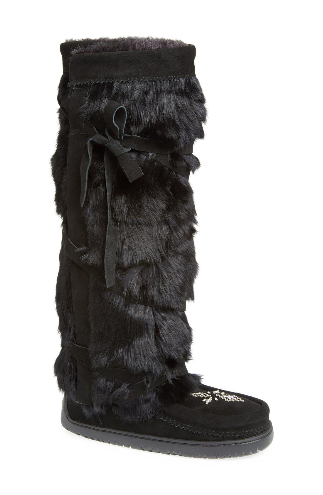 Manitobah Mukluks Genuine Rabbit Fur Tall Wrap Boot (Women)