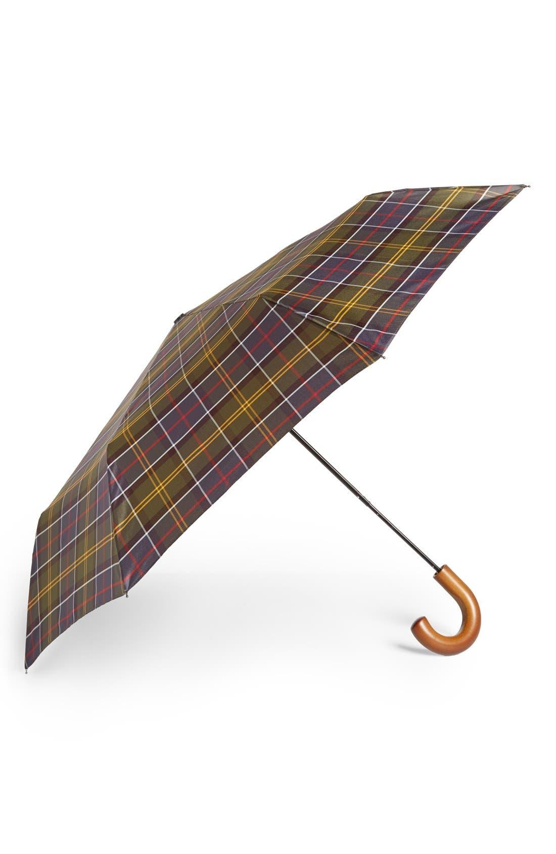 Telescoping Tartan Umbrella,                             Main thumbnail 1, color,                             Green/ Yellow/ Brown