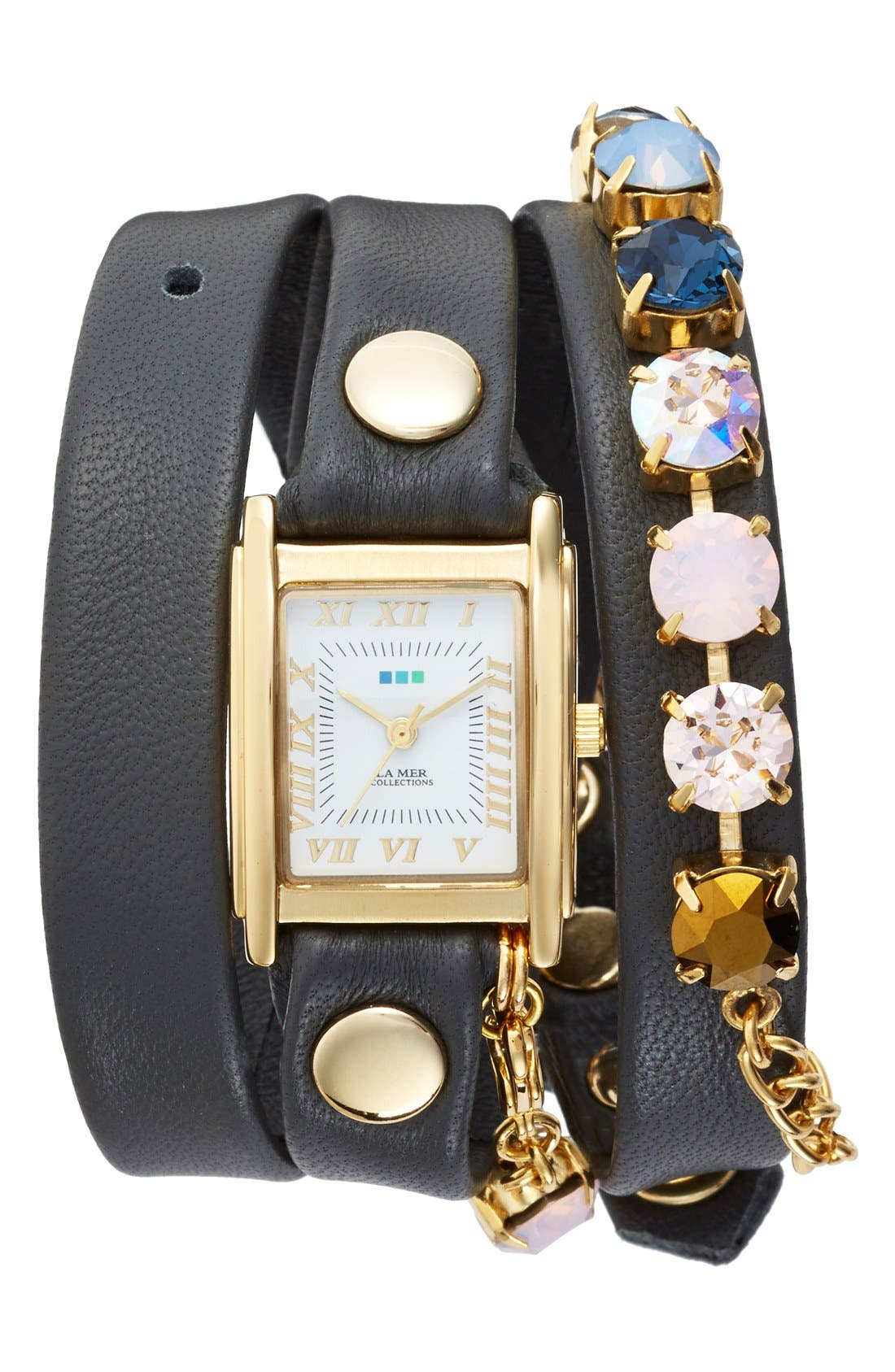 Main Image - La Mer Collections 'Sunset' Leather & Crystal Wrap Watch