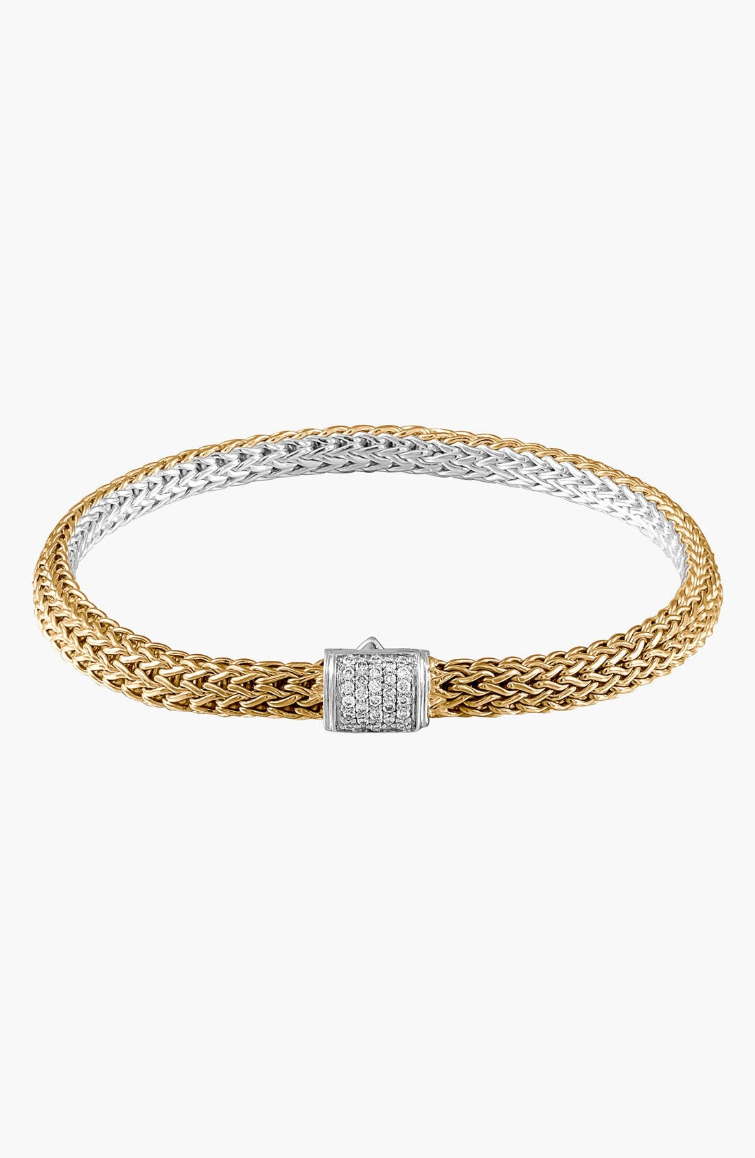 'Classic Chain' Extra Small Bracelet,                             Main thumbnail 1, color,                             Gold/ Silver/ Diamond