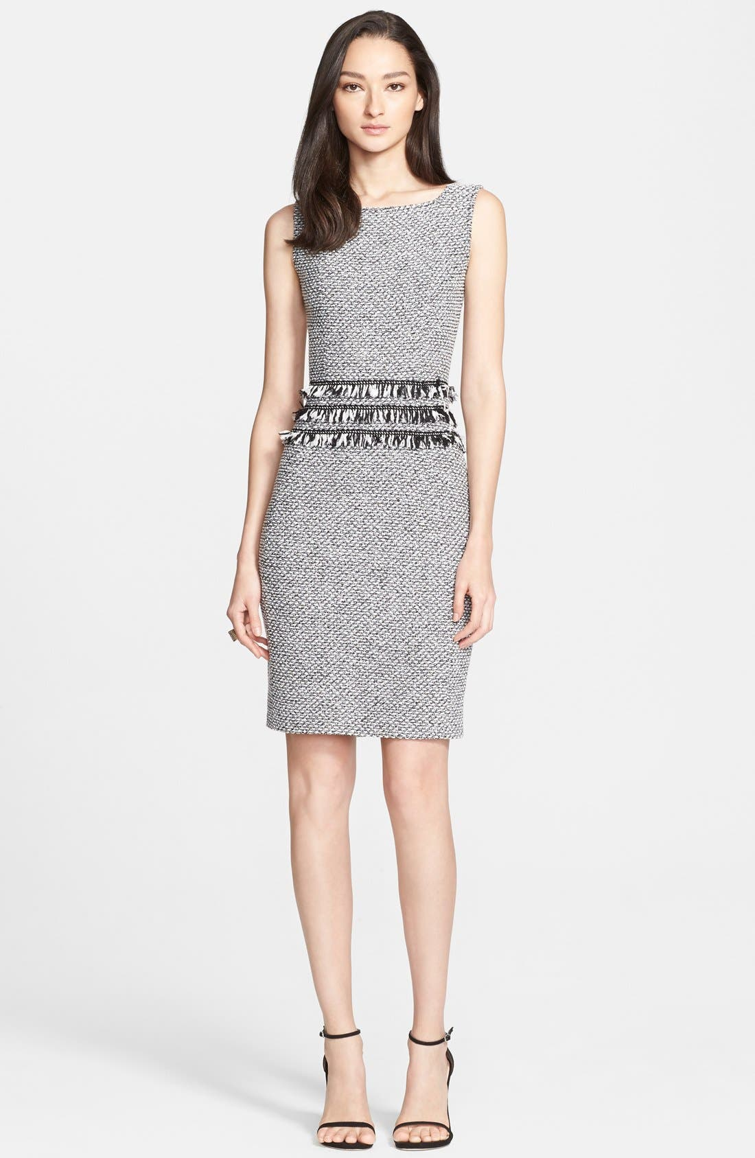 Main Image - St. John Collection Marled Twill Knit Sheath Dress with Frayed Georgette Fringe