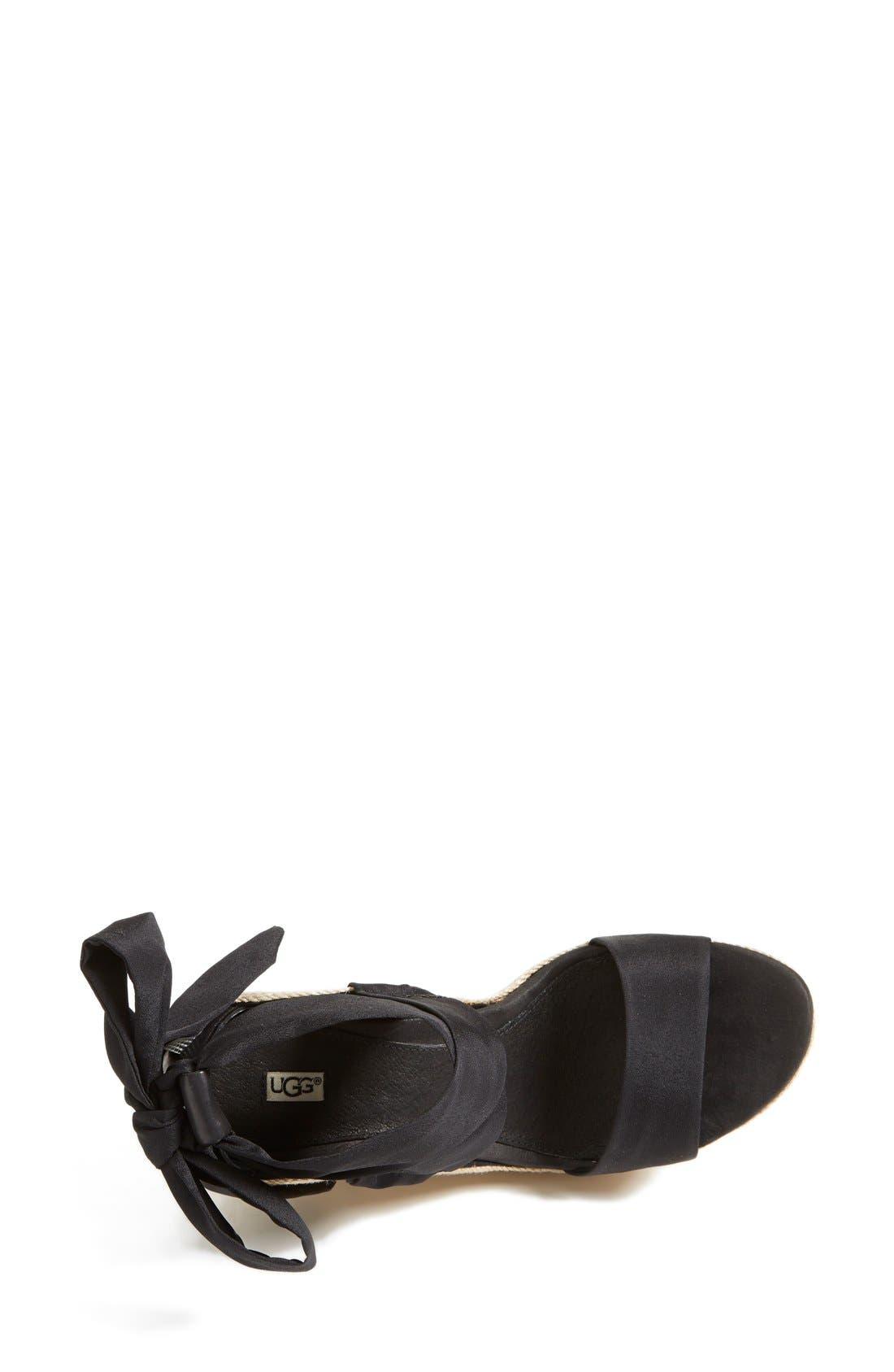 'Jules' Platform Wedge Sandal,                             Alternate thumbnail 3, color,                             Black