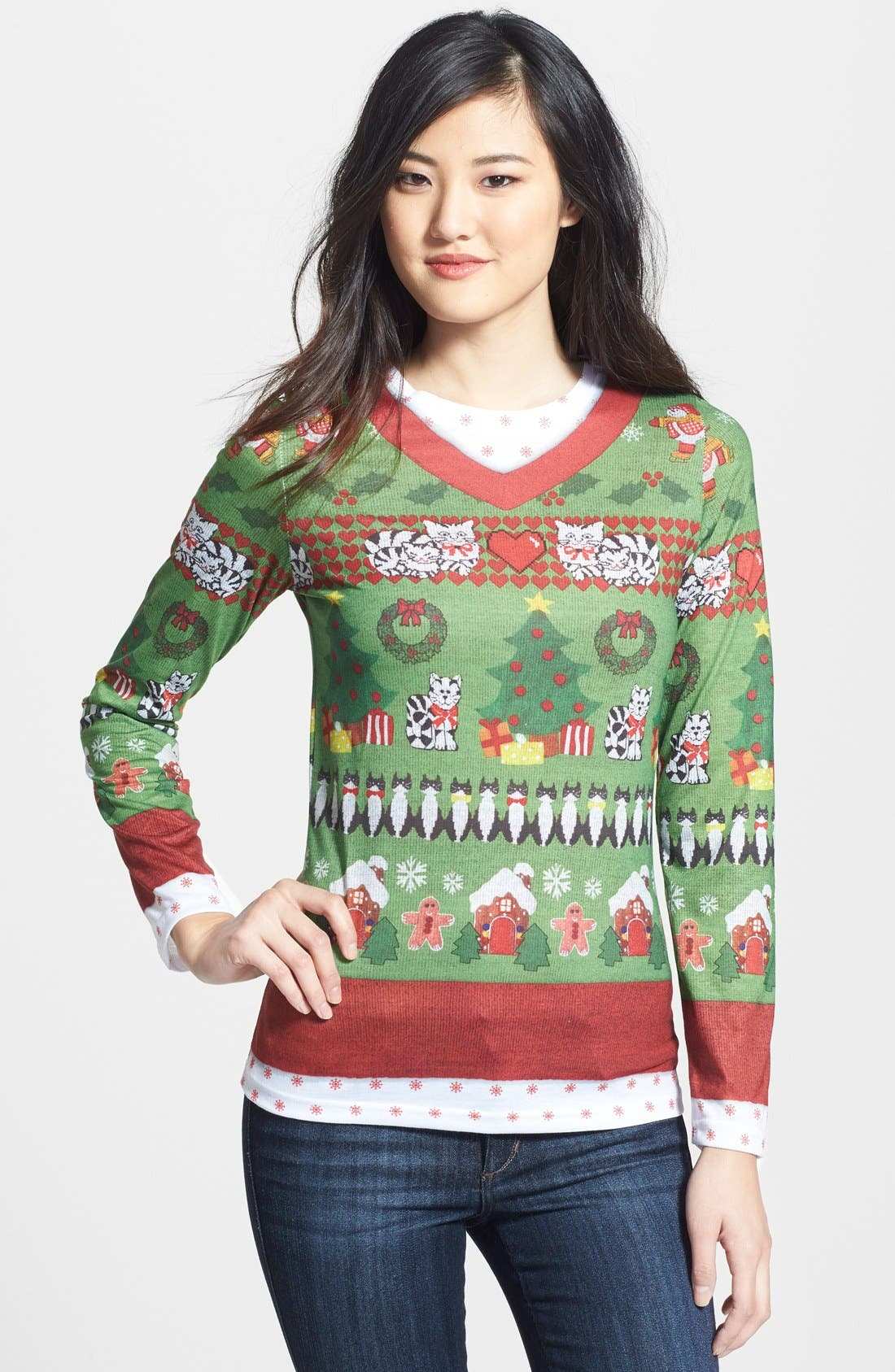 Faux Real Cats Ugly Christmas Long Sleeve Novelty Tee (Women)