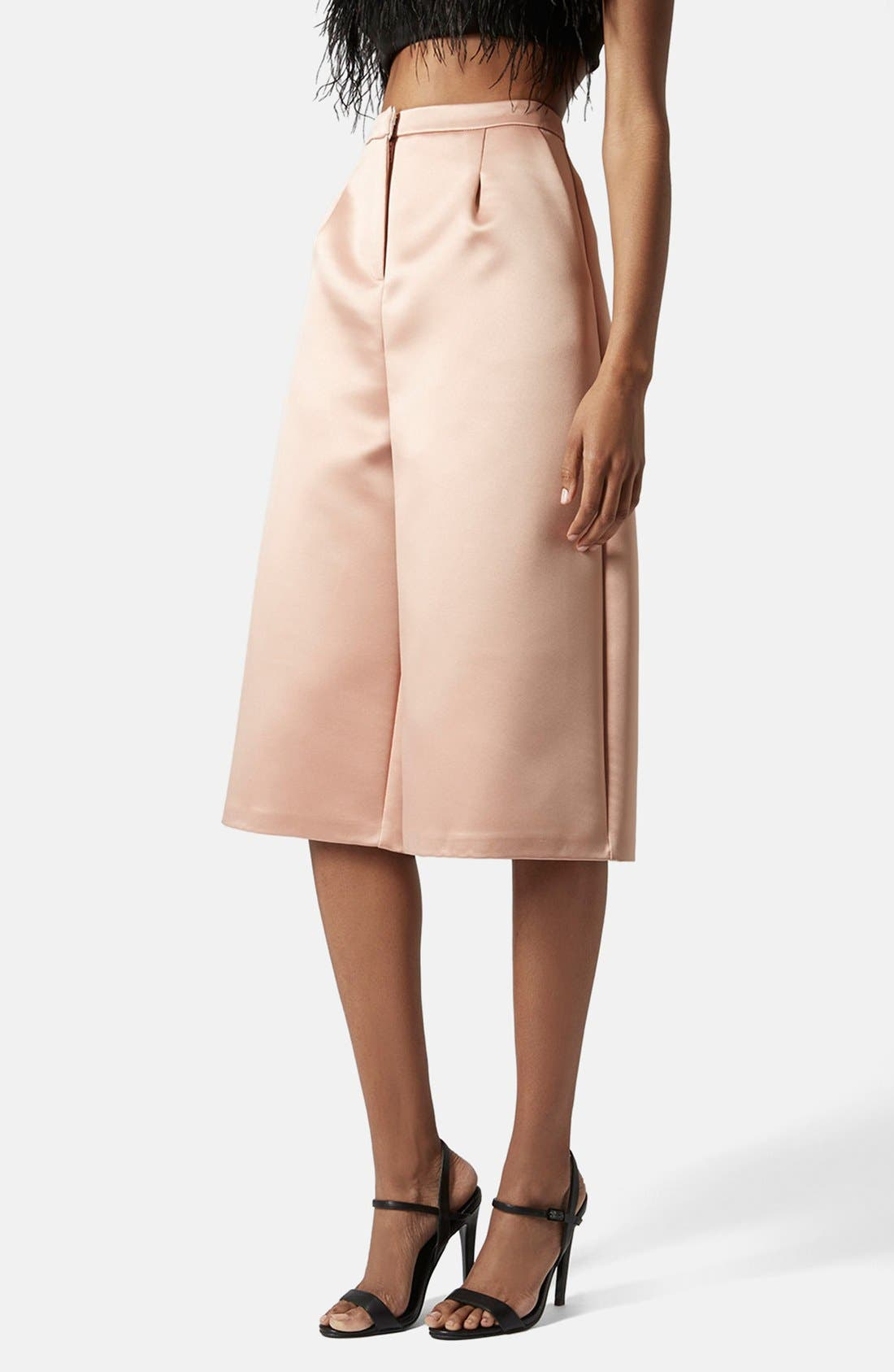 Main Image - Topshop Pleated Satin Culottes