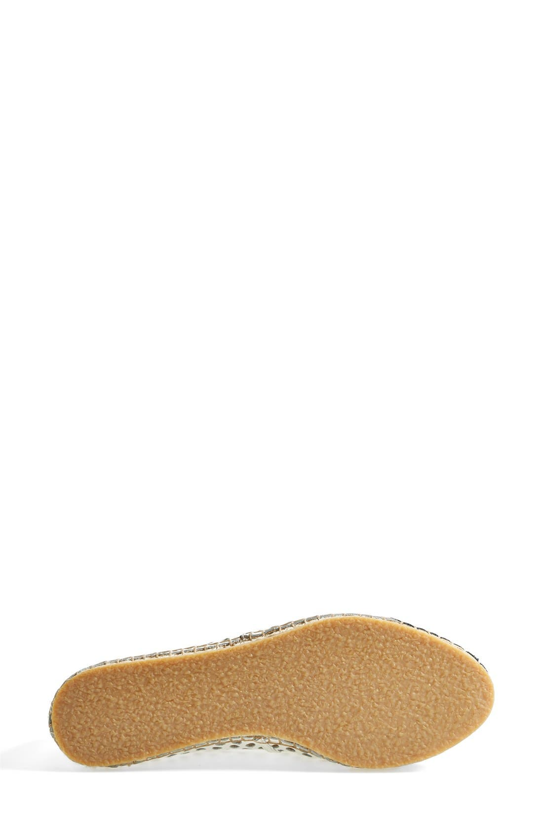 'Mara' Espadrille Flat,                             Alternate thumbnail 4, color,                             White/ Black