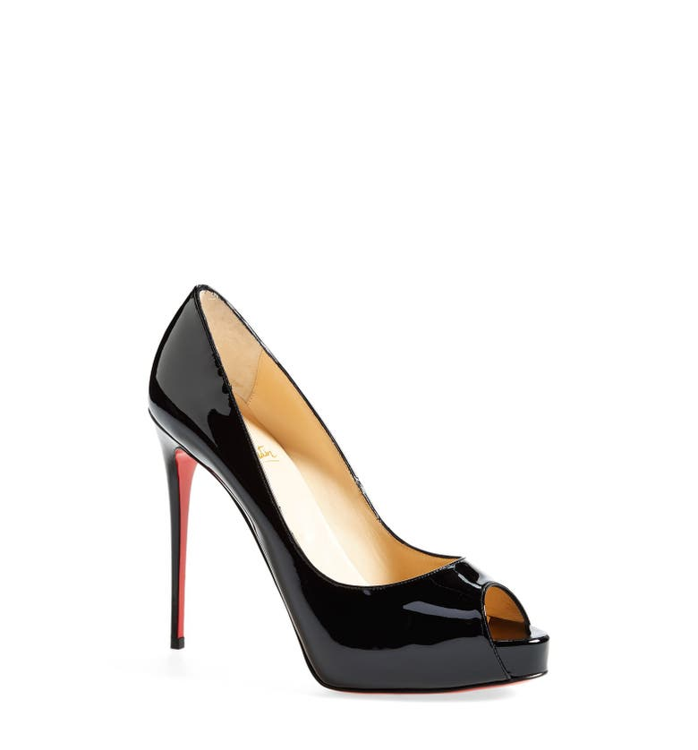 new style 2669d fdcb2 New Very Prive Patent Red Sole Pump in Black