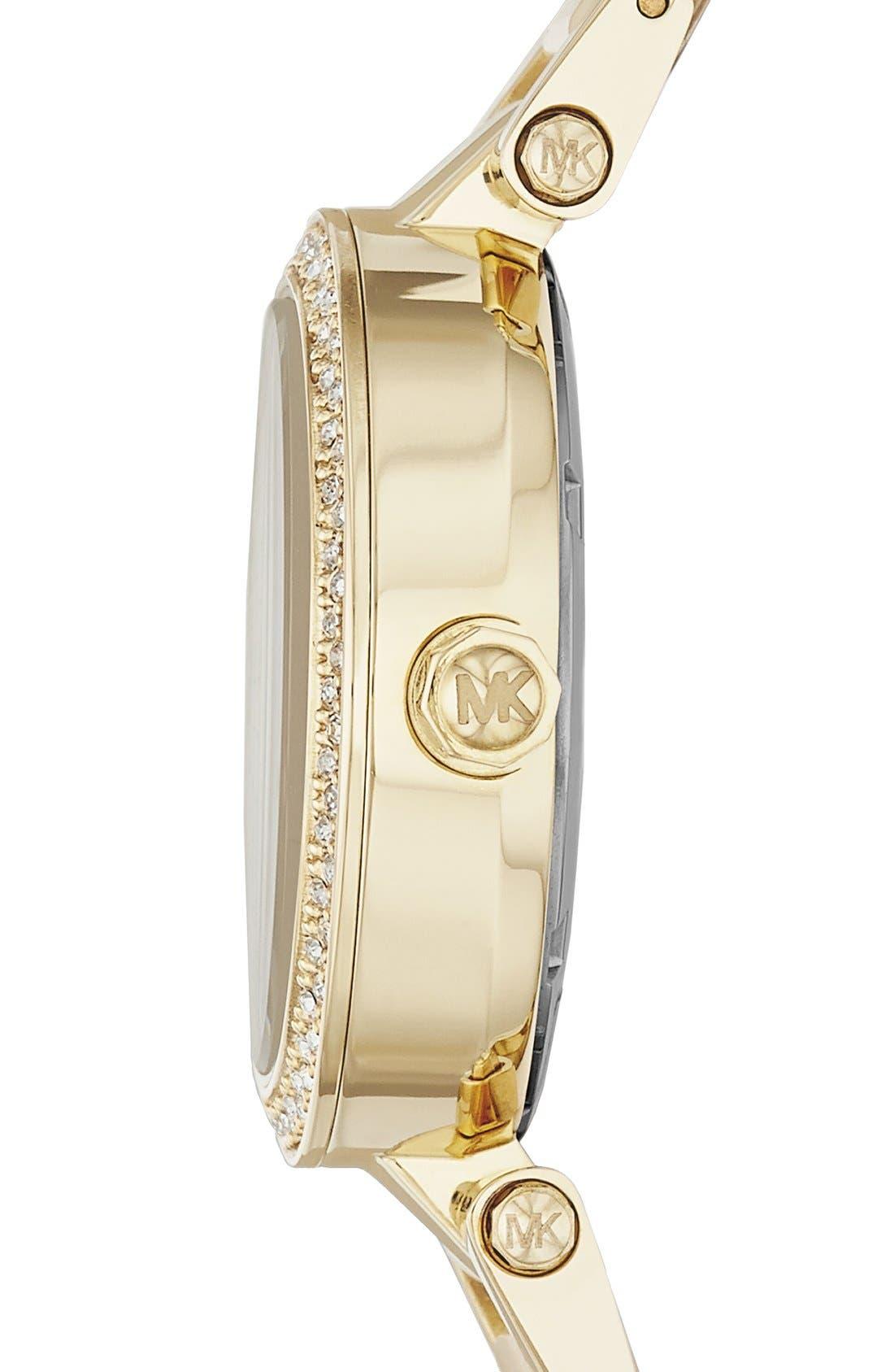 Alternate Image 3  - Michael Kors 'Mini Parker' Crystal Bezel Bracelet Watch, 33mm