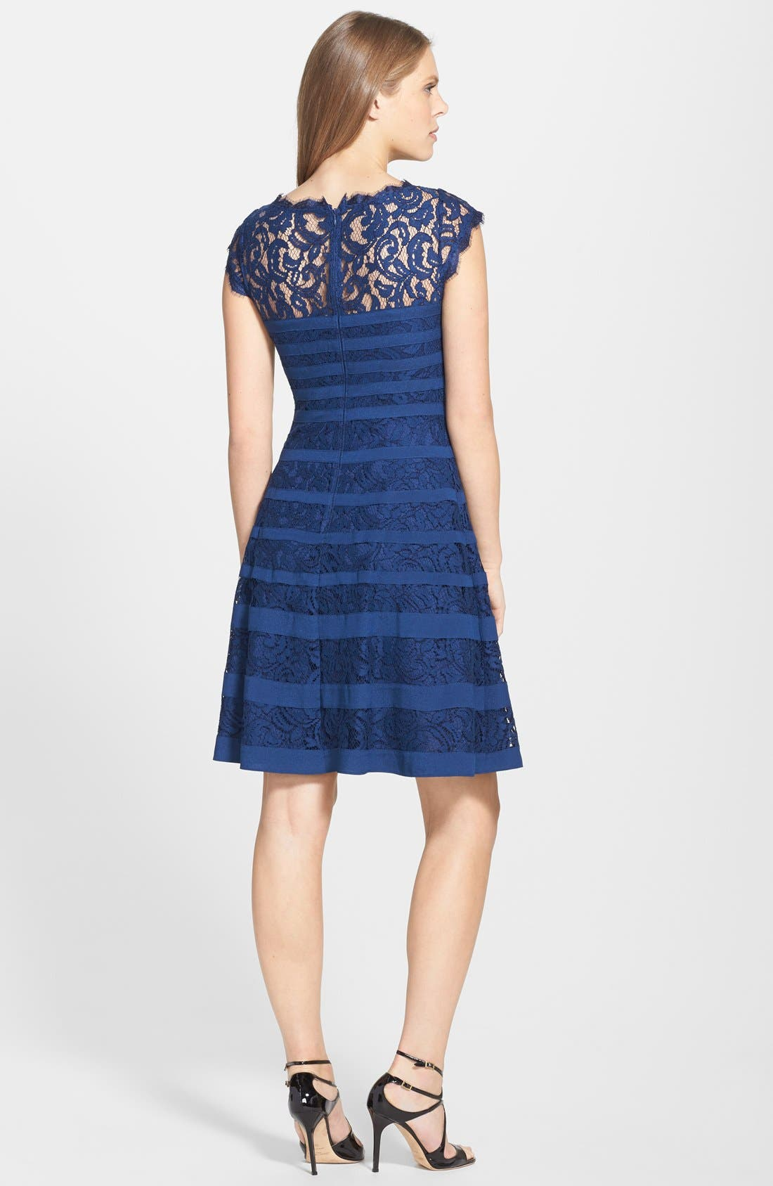 Alternate Image 2  - Adrianna Papell Banded Lace Fit & Flare Dress