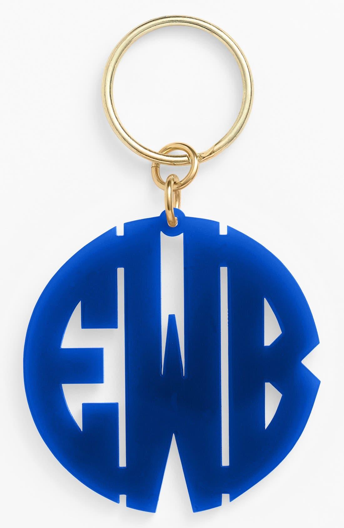 Personalized Monogram Key Chain,                             Main thumbnail 1, color,                             Cobalt