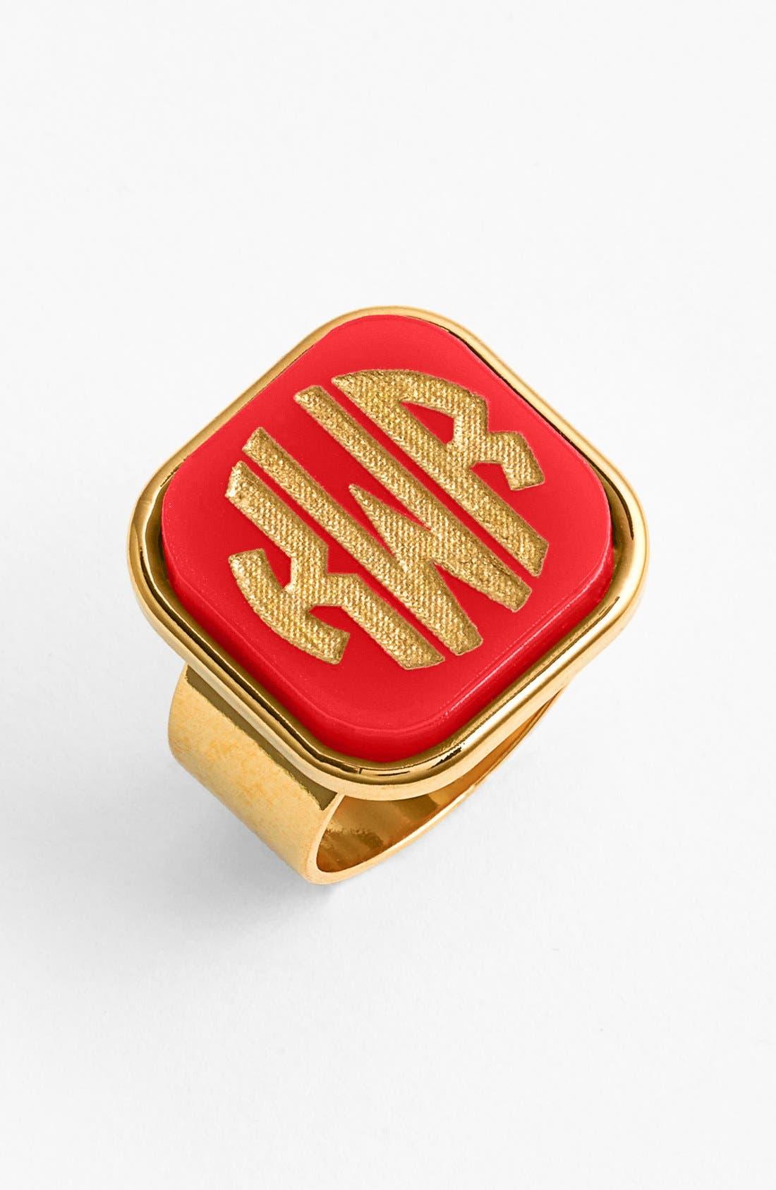 'Vineyard' Personalized Monogram Ring,                             Main thumbnail 1, color,                             Ruby