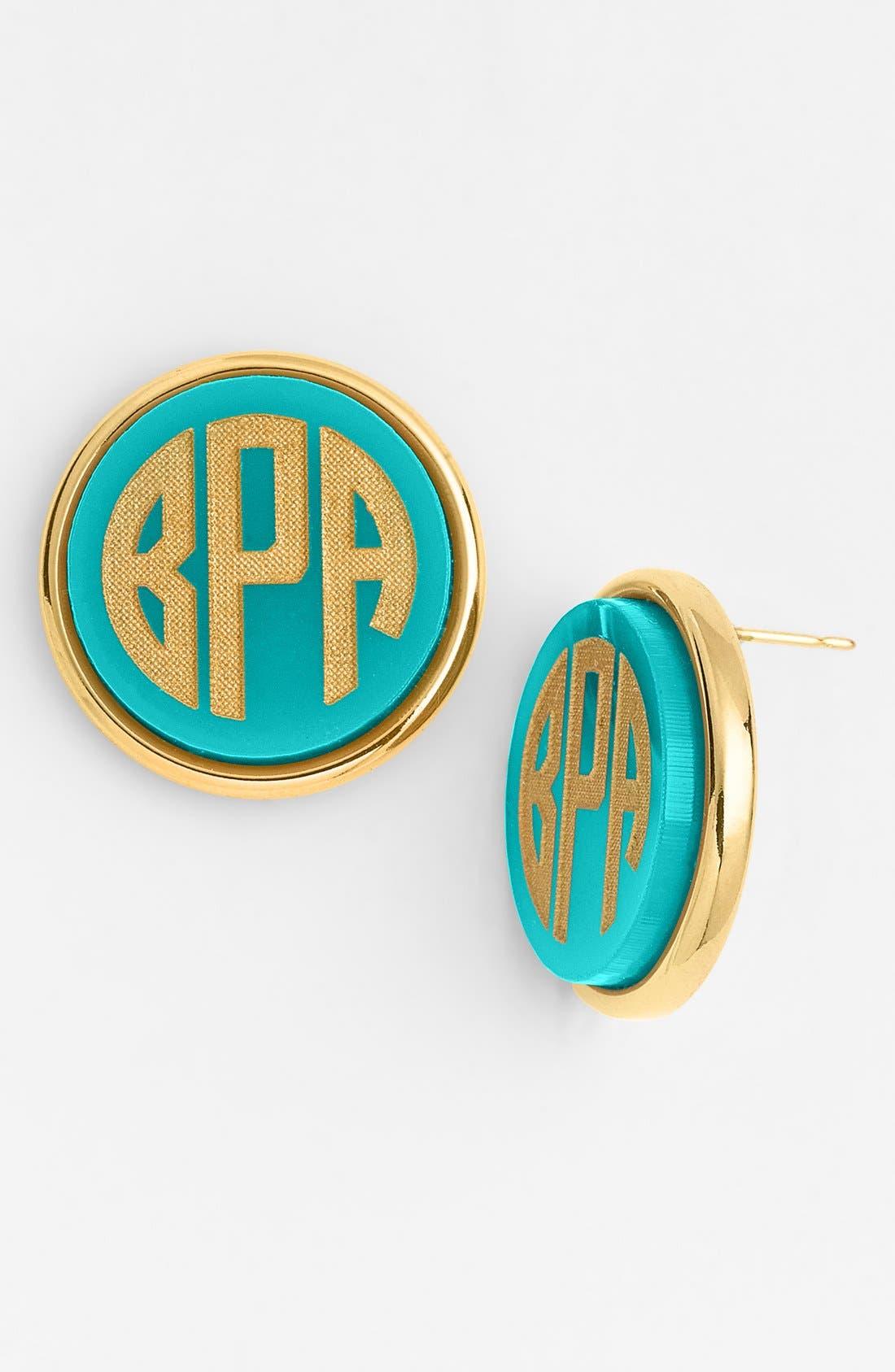 MOON AND LOLA Vineyard Personalized Monogram Stud Earrings