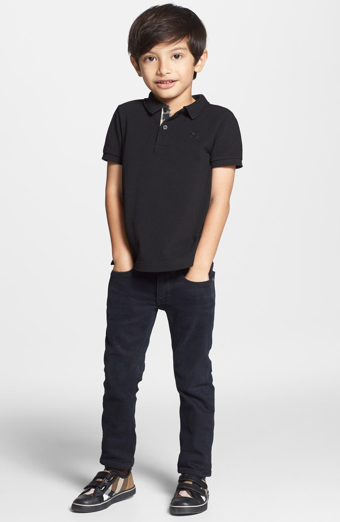 Check Placket Polo,                             Alternate thumbnail 2, color,                             Black