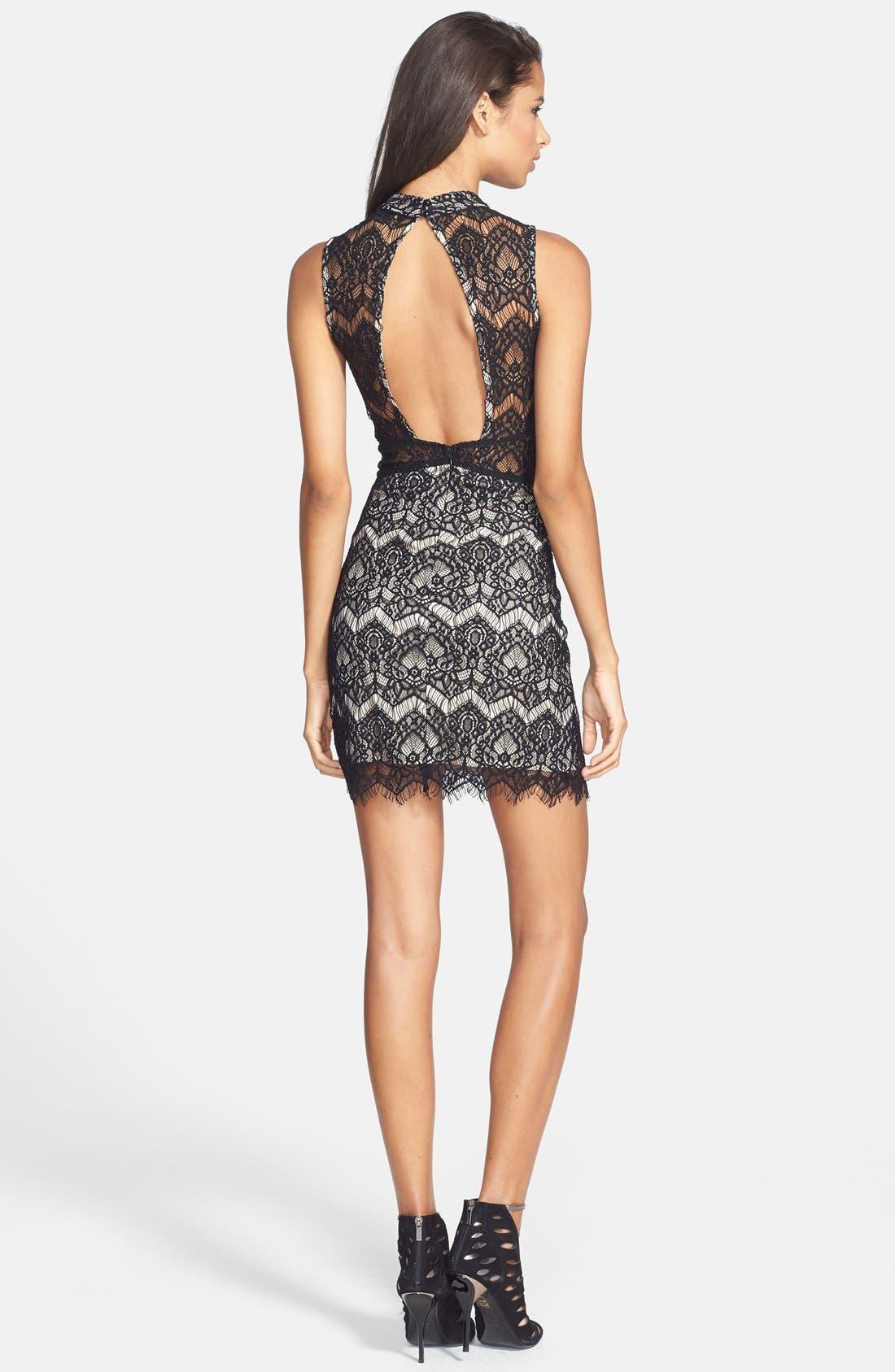 Alternate Image 2  - Filtre Illusion Cutout Lace Body-Con Dress