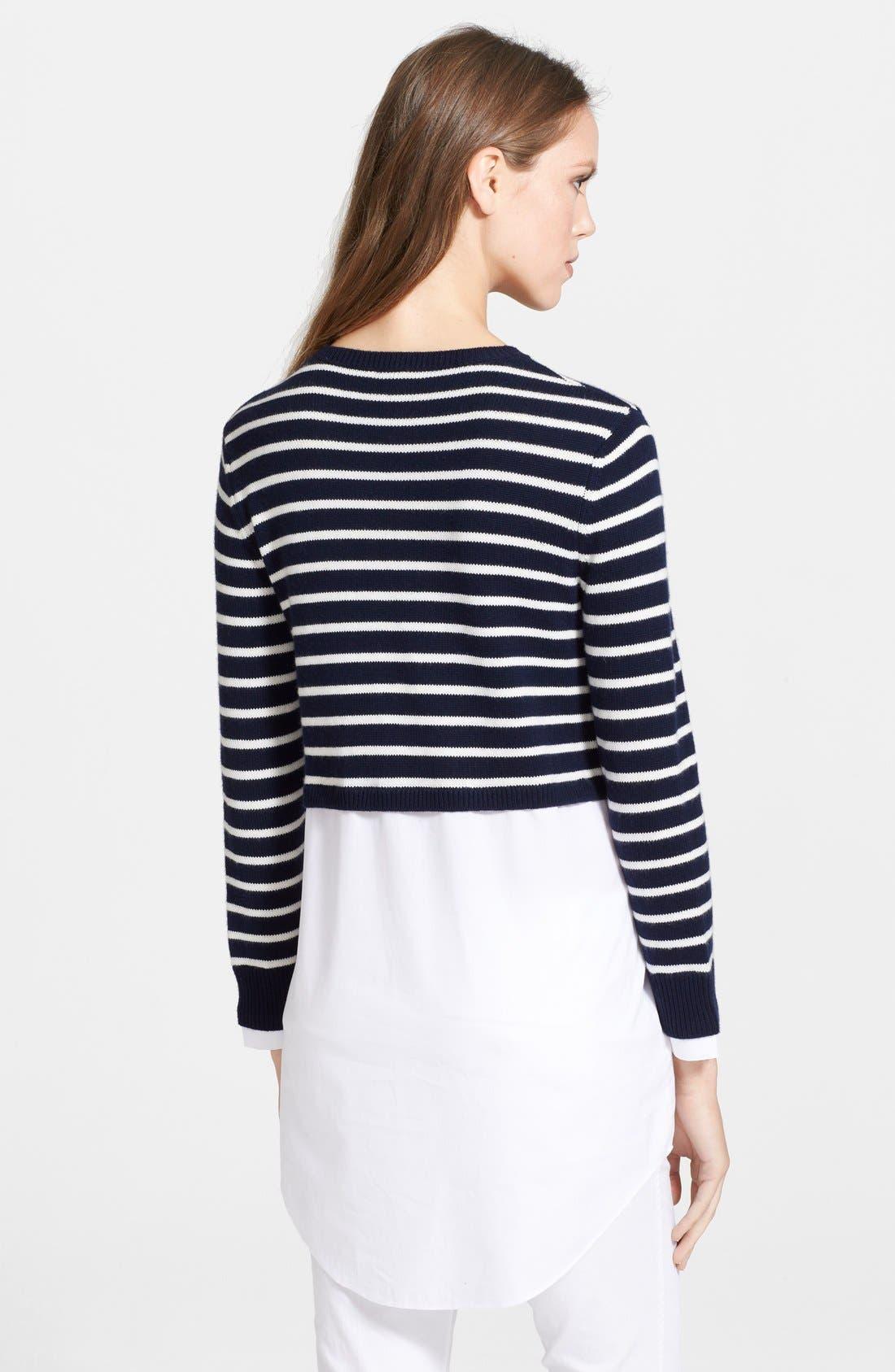 Alternate Image 2  - Theory 'Rymalia' Stripe Crop Cotton & Cashmere Sweater with Poplin Underlay