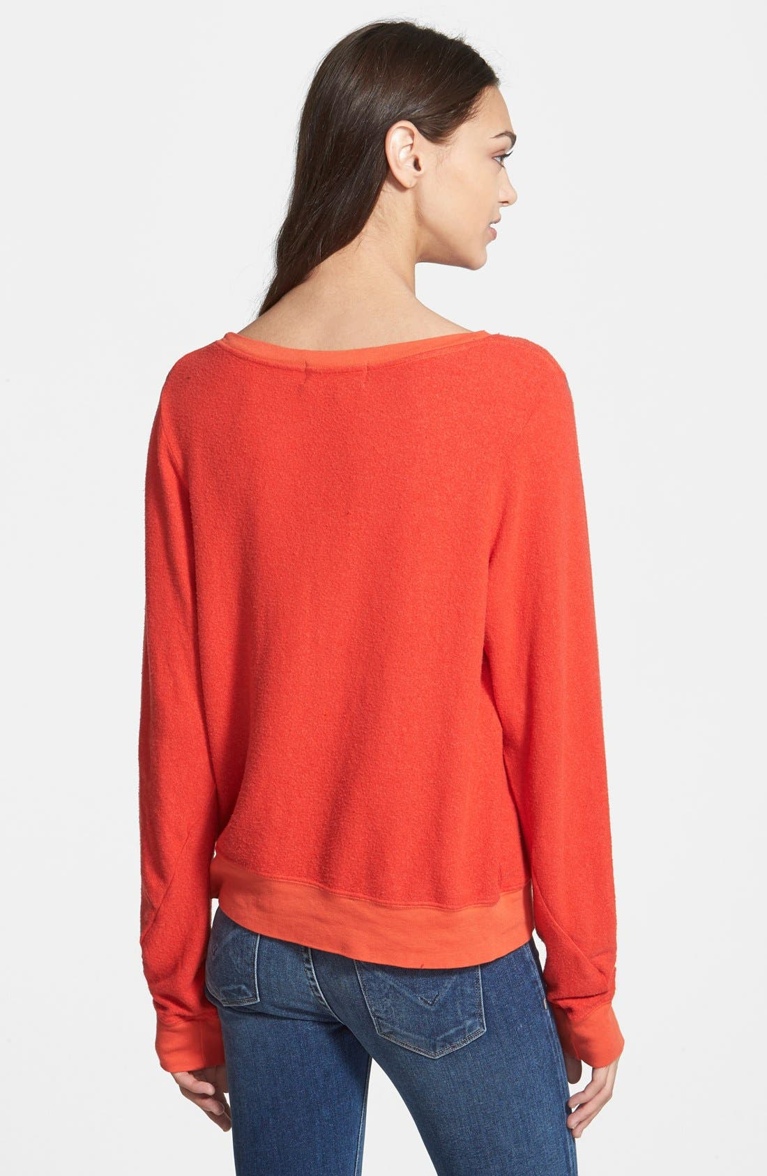 'Baggy Beach Jumper' Pullover,                             Alternate thumbnail 2, color,                             Hot Lipstick Polydye