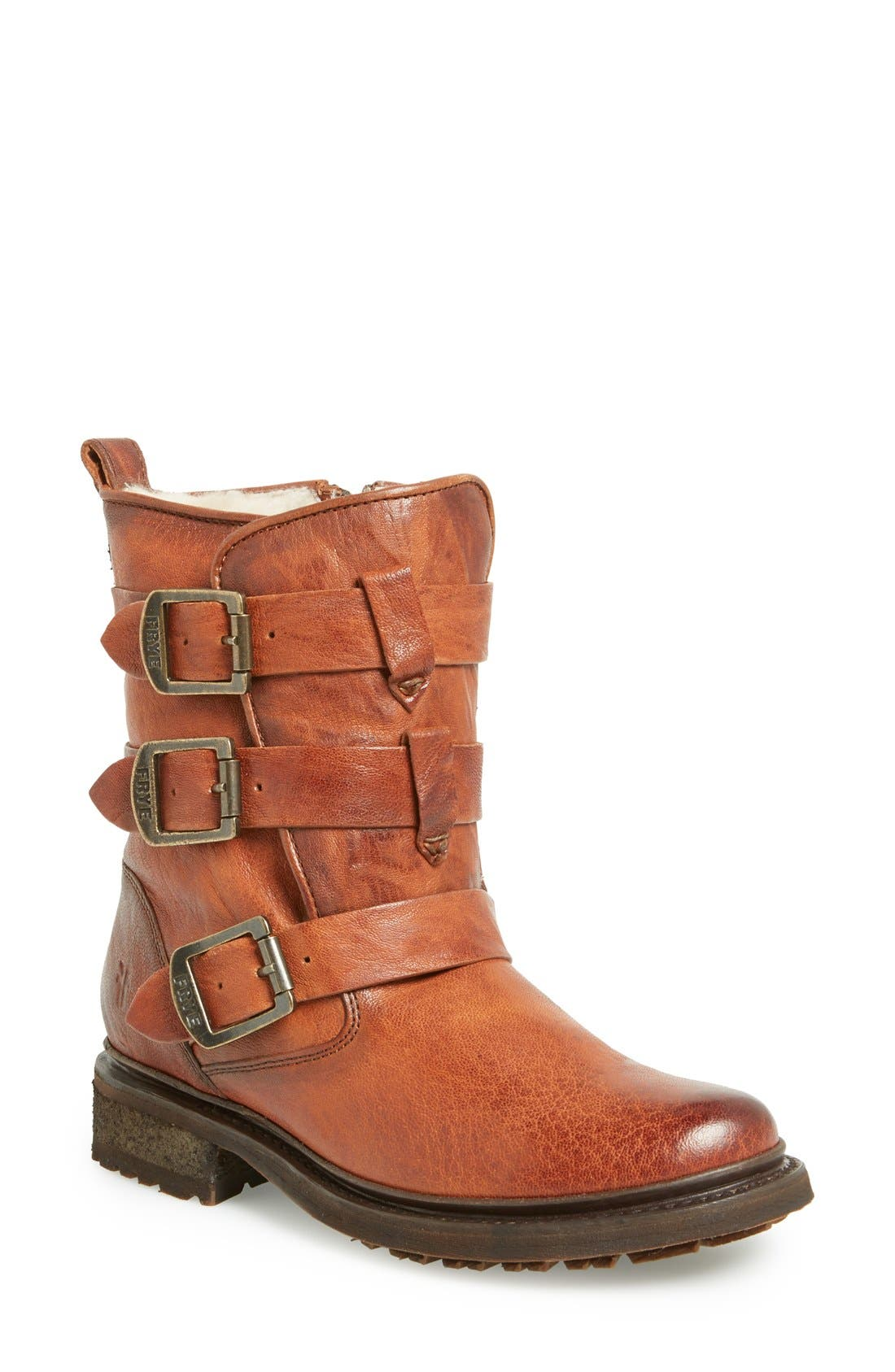 Main Image - Frye 'Valerie' Shearling Lined Strappy Boot (Women)