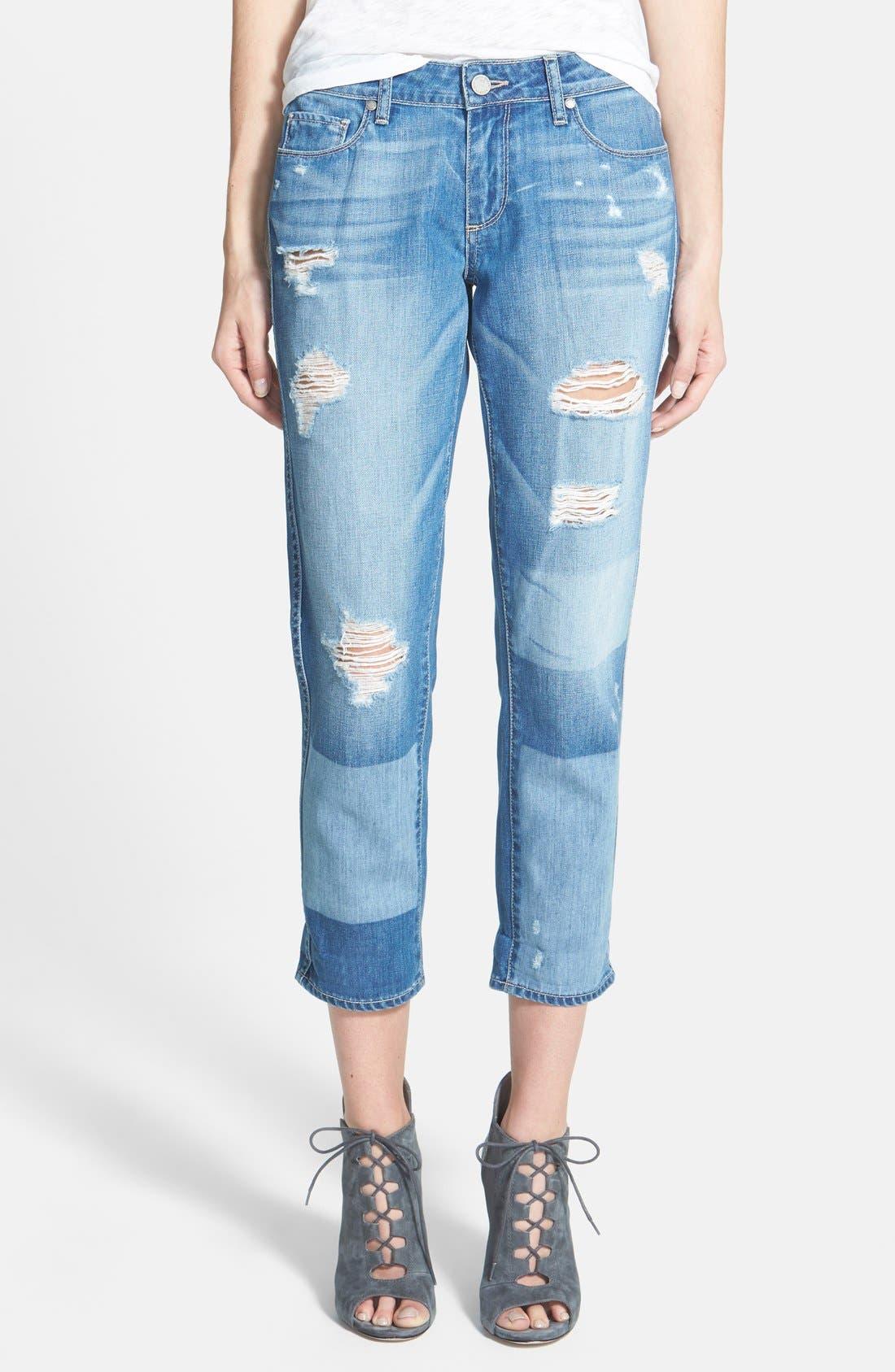 Alternate Image 1 Selected - Paige Denim 'Jimmy Jimmy' Crop Skinny Boyfriend Jeans (Indigo Ezra Destroyed)