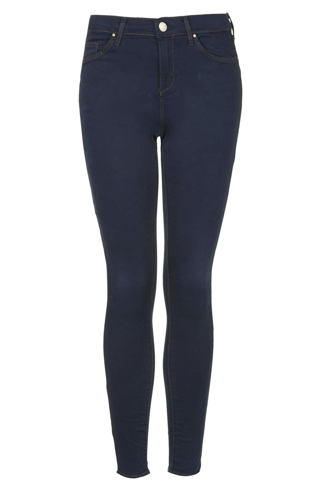 Alternate Image 3  - Topshop Moto 'Leigh' Skinny Jeans (Blue) (Regular & Short)