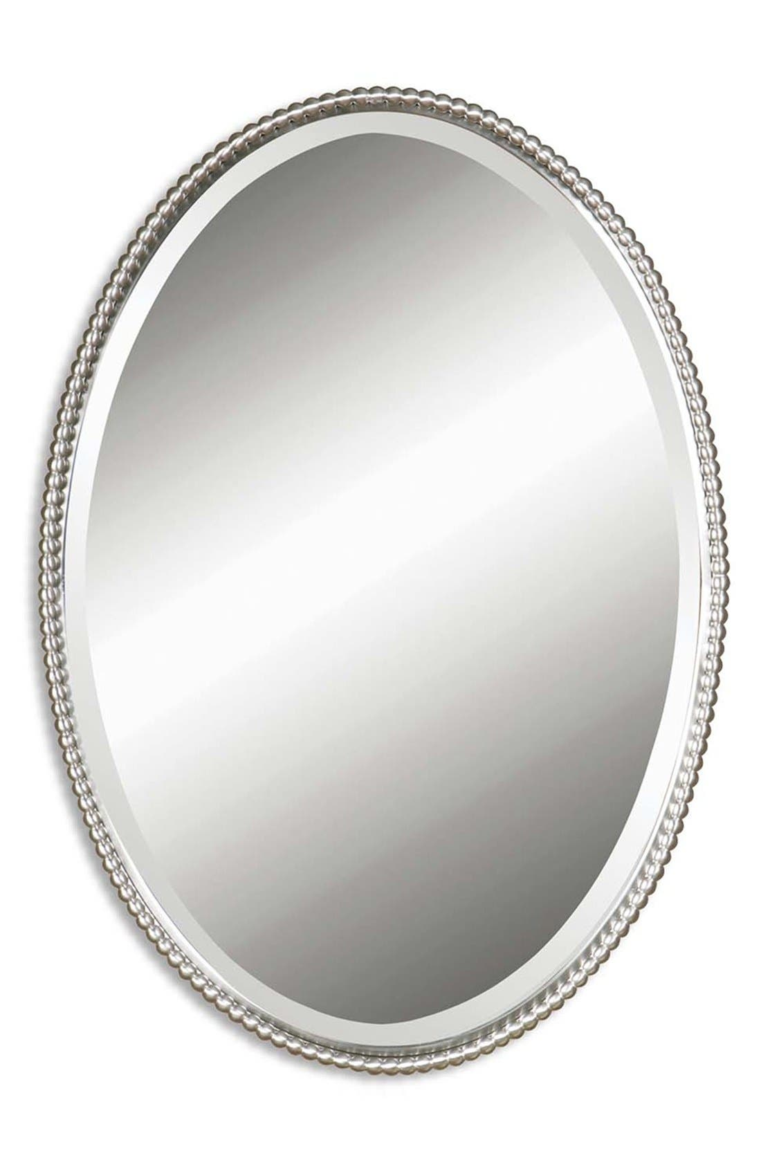 'Sherise' Oval Mirror,                         Main,                         color, Brushed Nickel