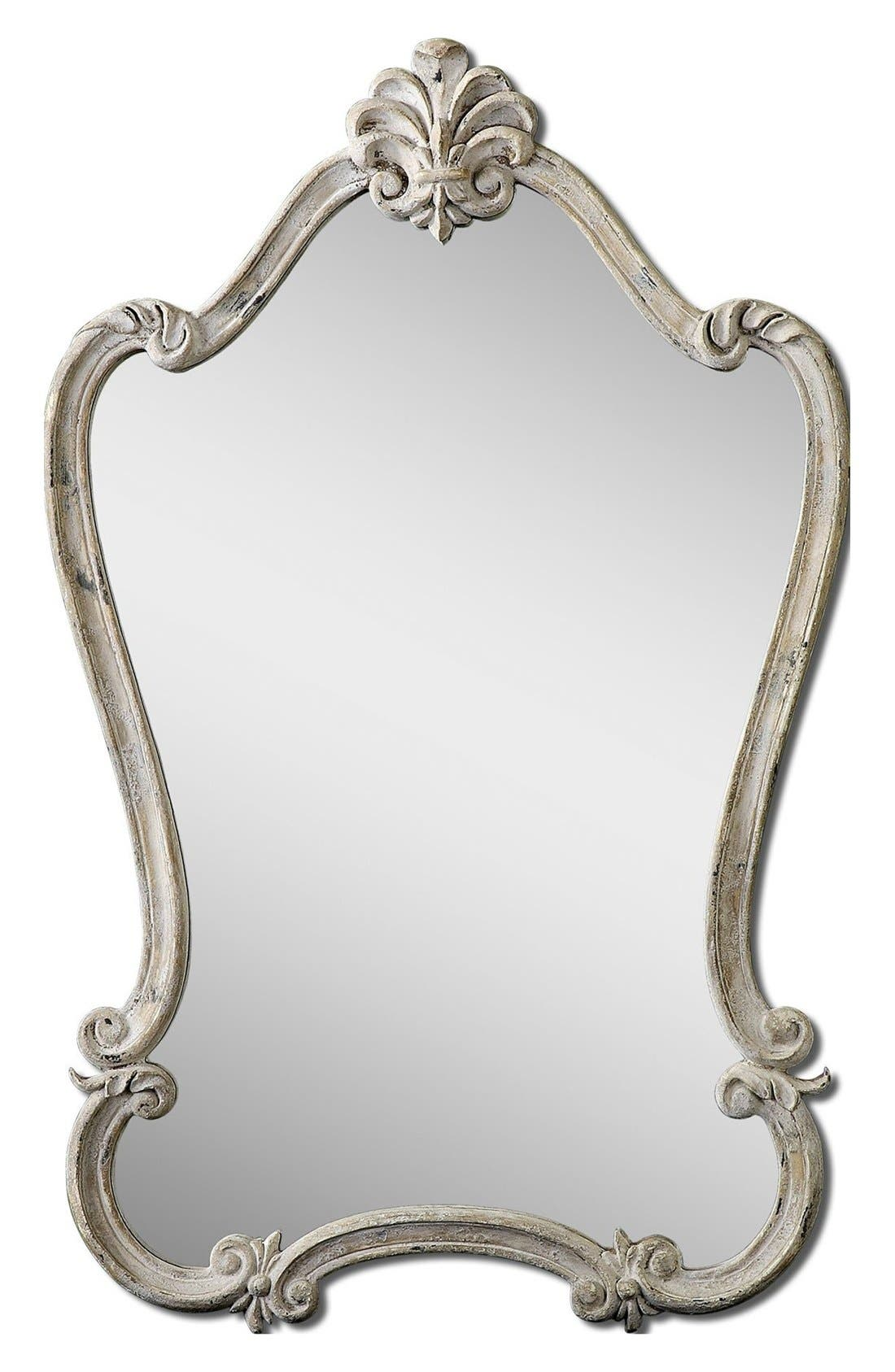 'Walton Hall' Antique White Vanity Mirror,                         Main,                         color, White
