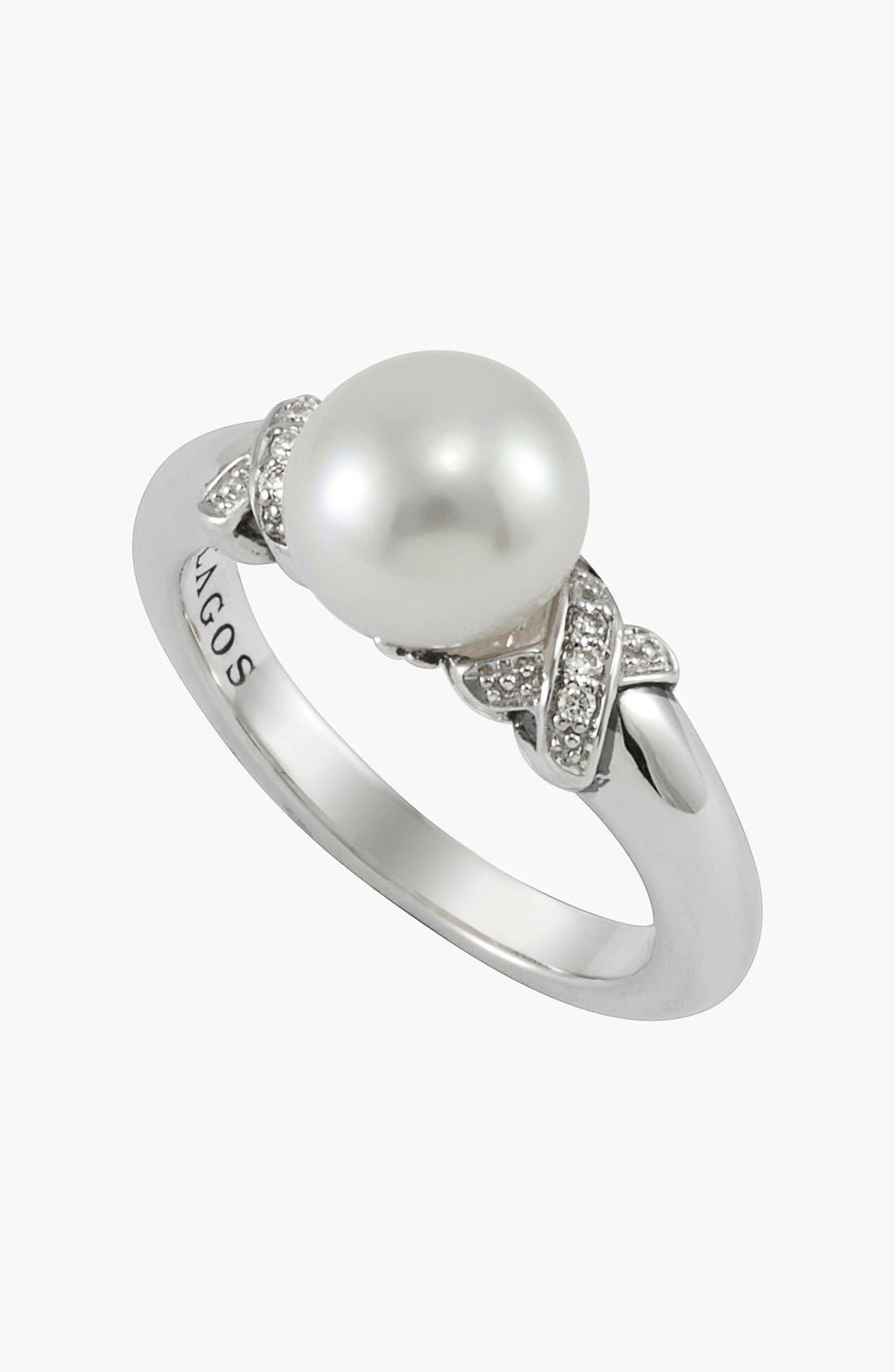 Alternate Image 1 Selected - Lagos 'Luna' Diamond & Pearl Ring