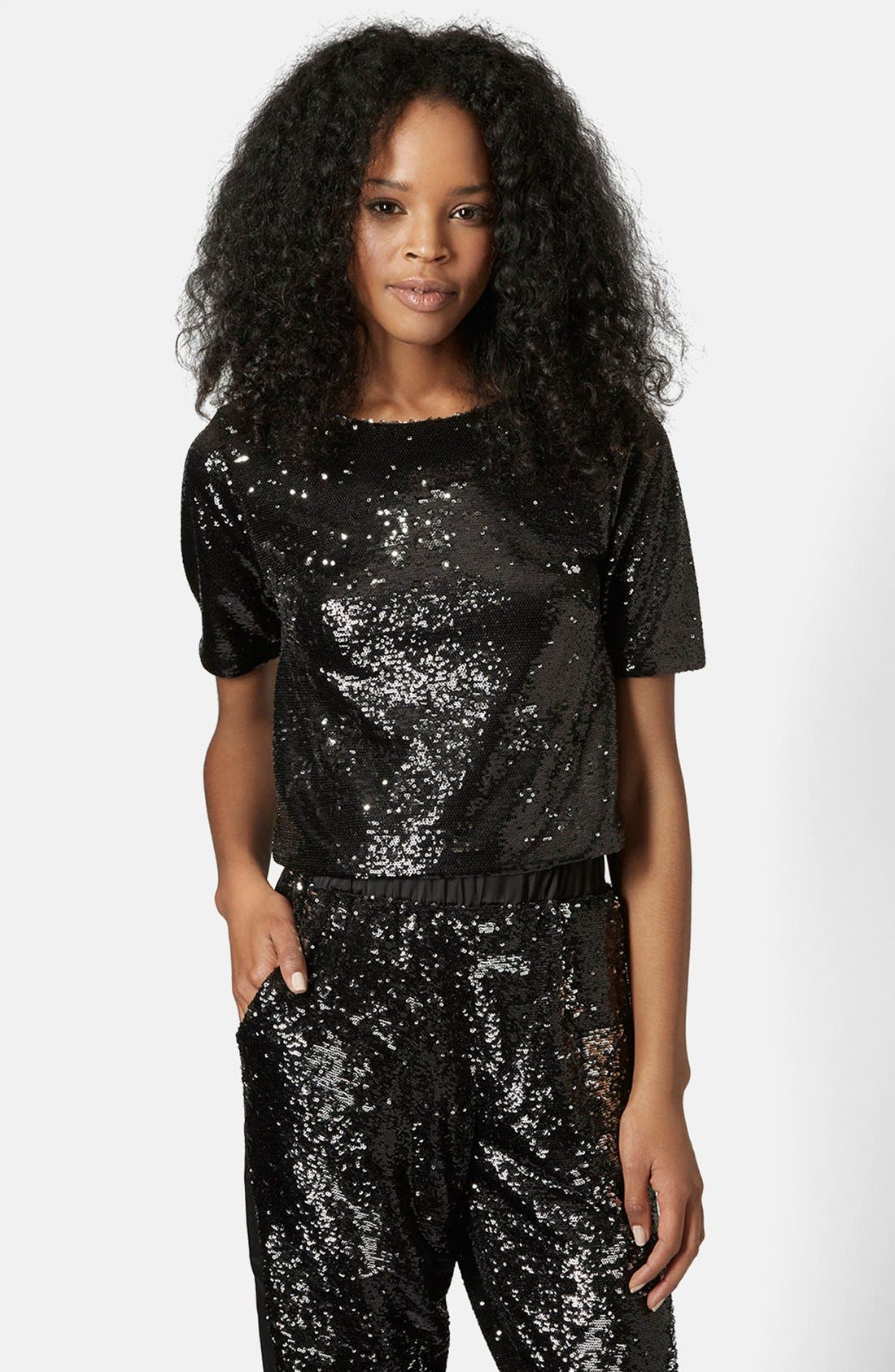 Two Tone Sequin Tee,                         Main,                         color, Black