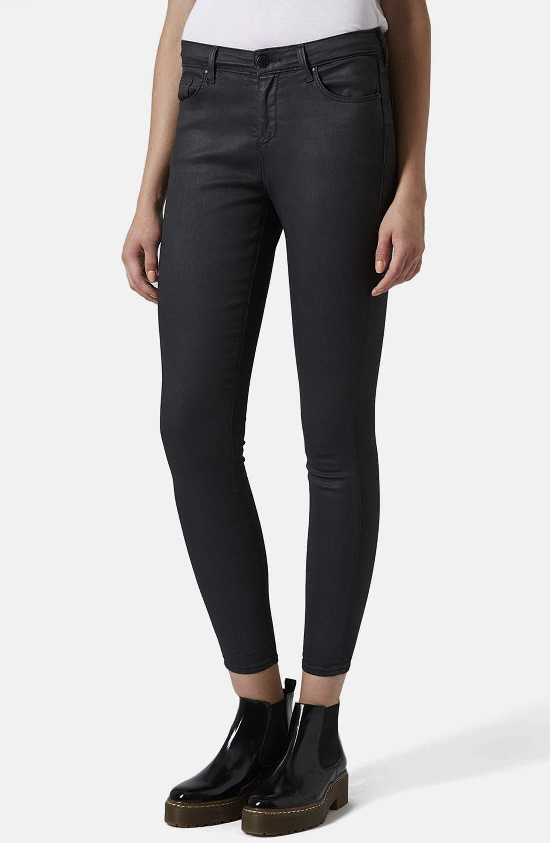 Moto 'Leigh' Coated Skinny Jeans,                             Main thumbnail 1, color,                             Black