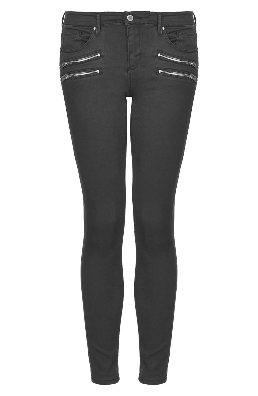 Alternate Image 3  - Topshop Moto Biker Jeans (Black) (Regular & Short)
