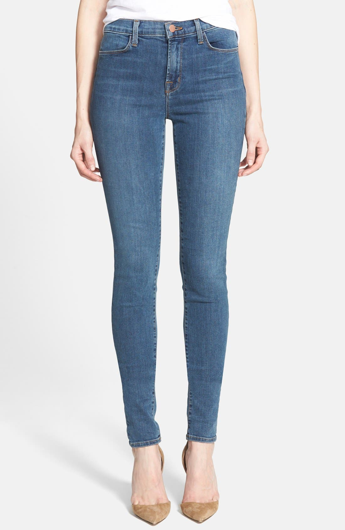 Main Image - J Brand 'Jess' High Rise Stacked Skinny Jeans (Beloved)