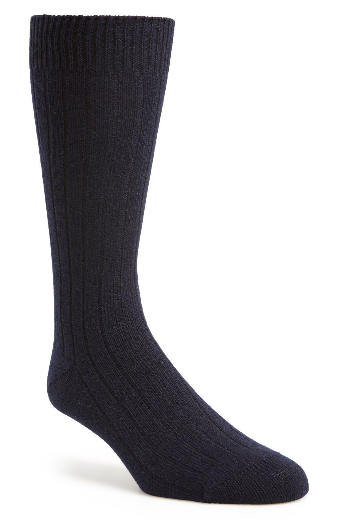 'Waddington' Cashmere Blend Mid Calf Socks,                             Main thumbnail 1, color,                             Navy