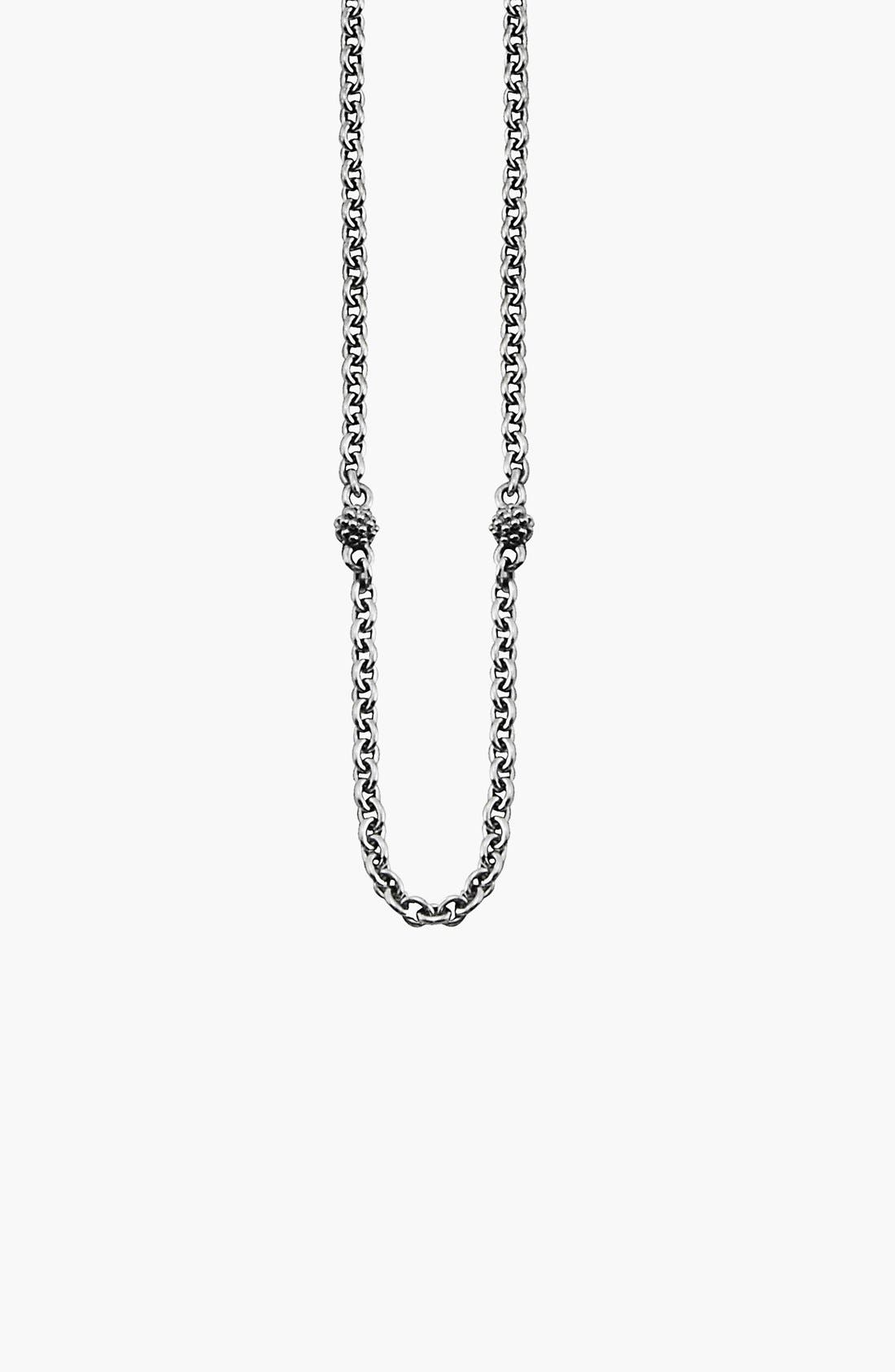 Caviar Station Chain Necklace,                             Alternate thumbnail 3, color,                             Sterling Silver