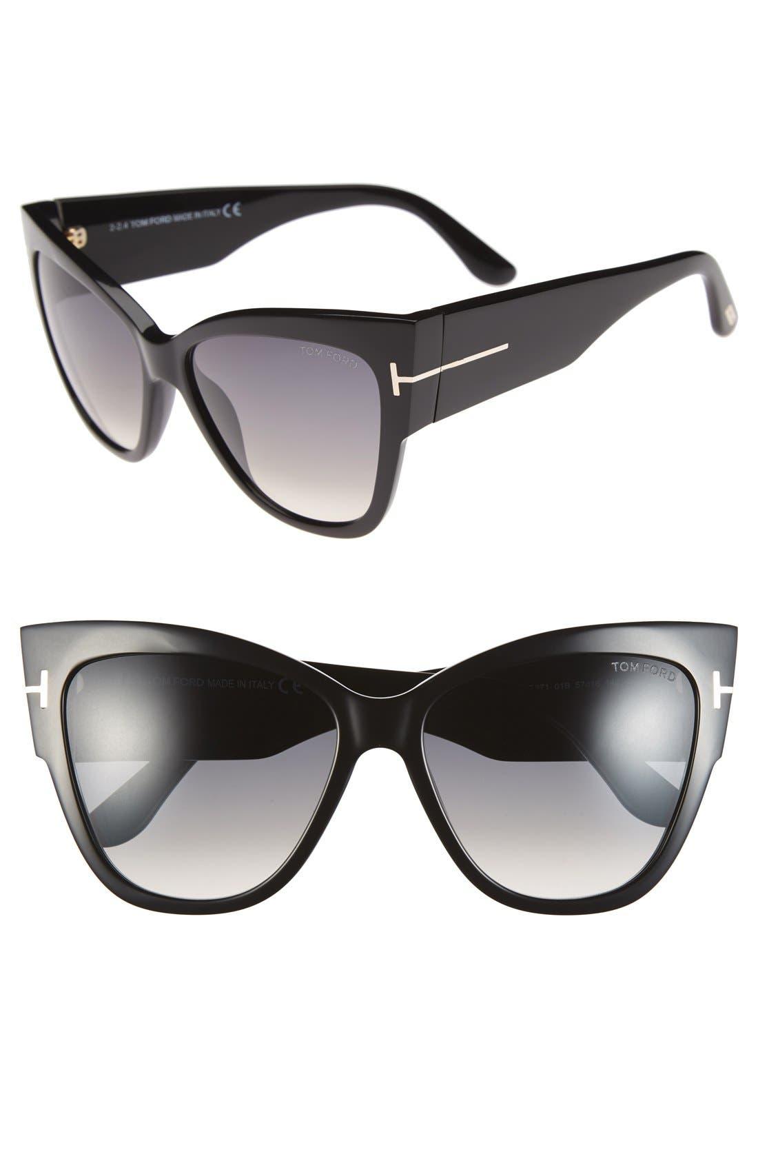 Anoushka 57mm Gradient Cat Eye Sunglasses,                         Main,                         color, Shiny Black/ Gradient Grey