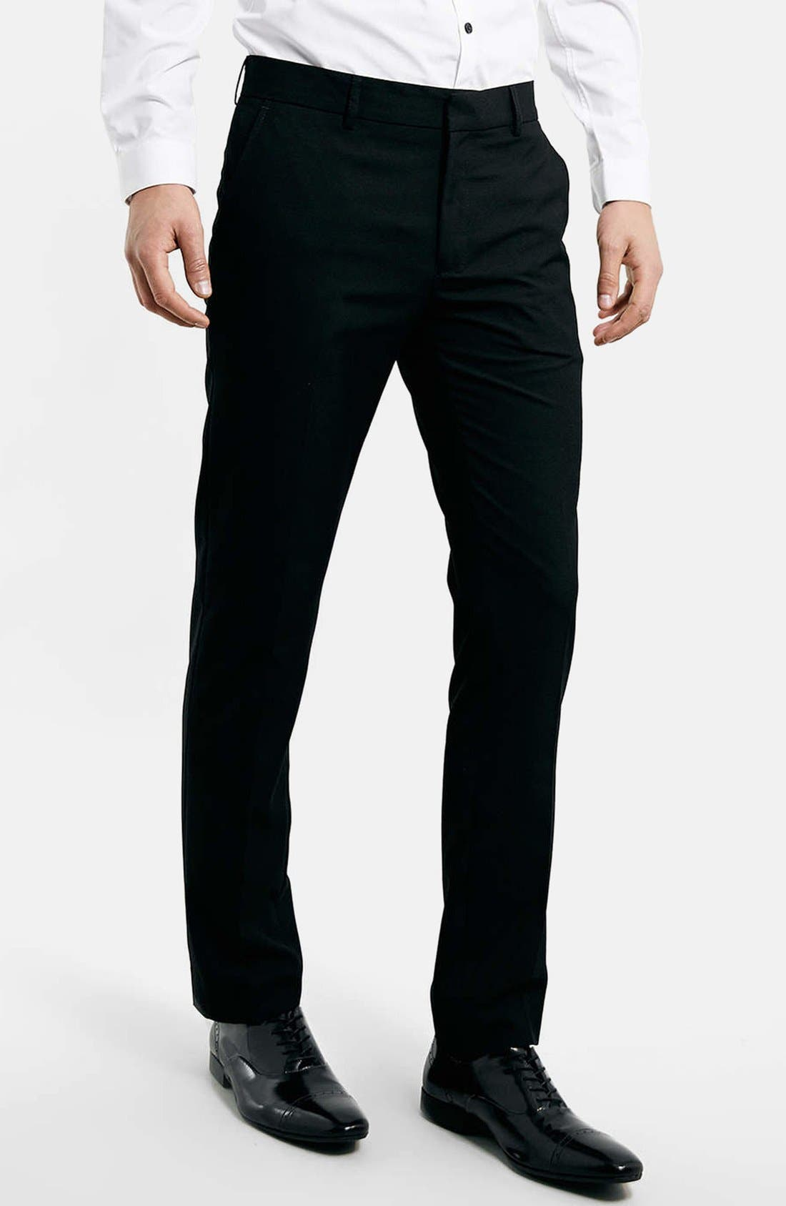 Main Image - Topman Black Skinny Fit Trousers