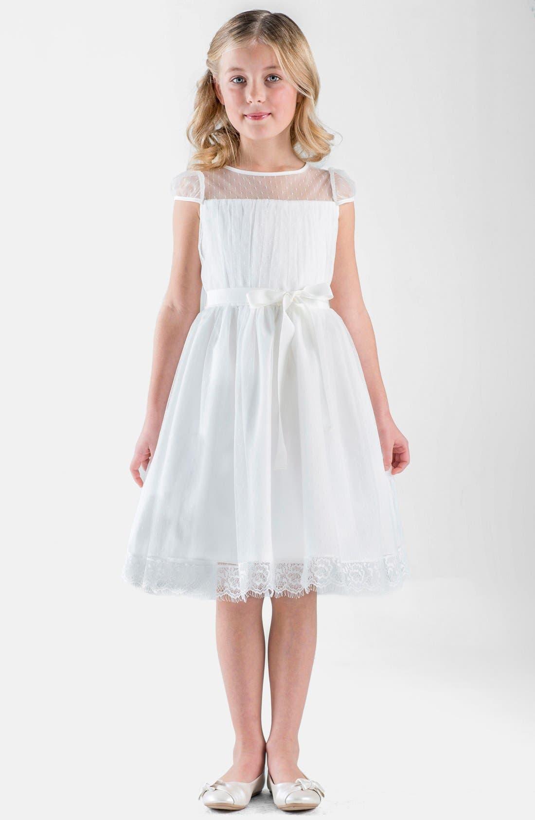 Alternate Image 4  - Us Angels Point d'Esprit Dress (Toddler Girls, Little Girls & Big Girls)