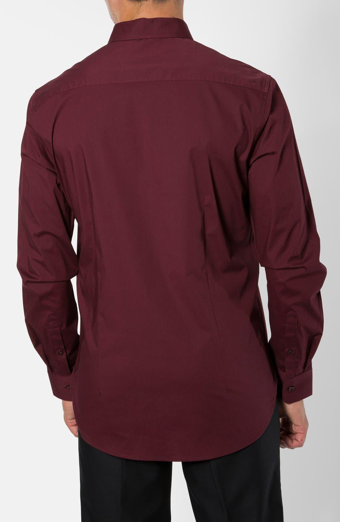 'Peace Train' Trim Fit Woven Shirt,                             Alternate thumbnail 2, color,                             Maroon