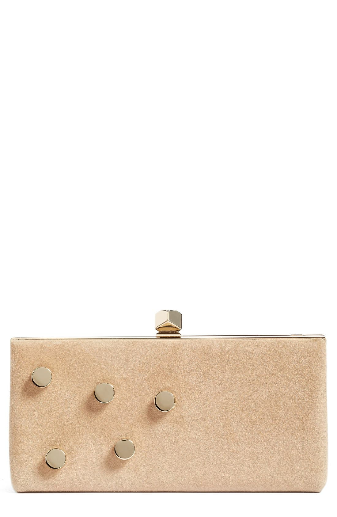 Jimmy Choo Jewelled Collection Celeste Buttons Suede Clutch