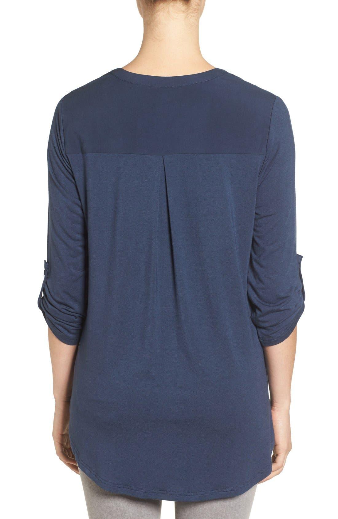 Alternate Image 2  - Pleione Split Neck Roll Sleeve Tunic (Regular & Petite)